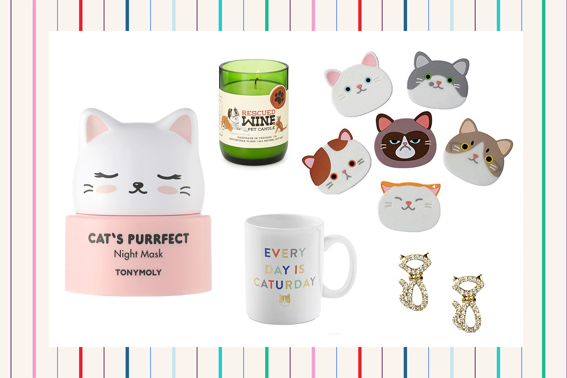 collection of cat products on background