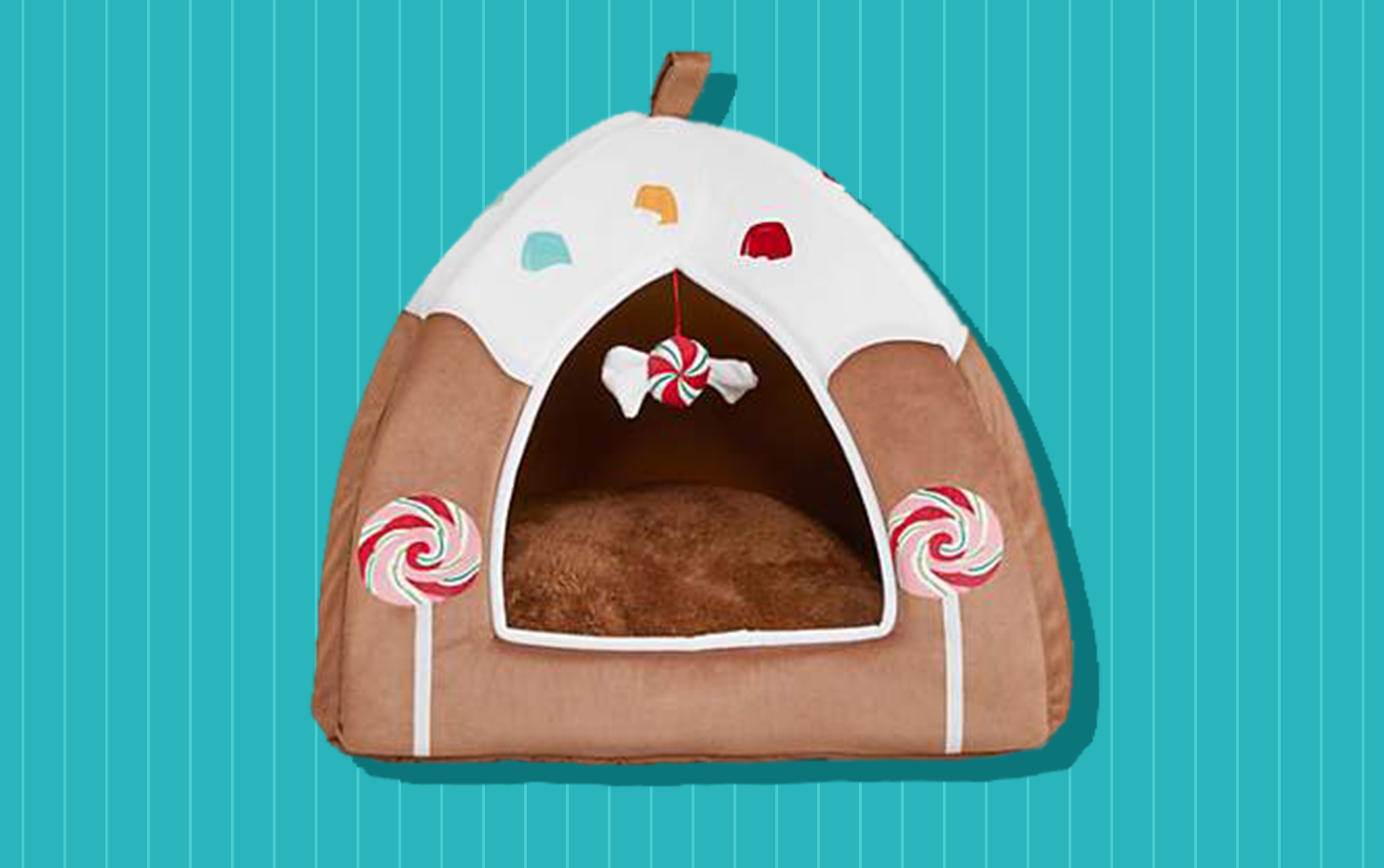 Silo of a gingerbread house cat bed on a teal background