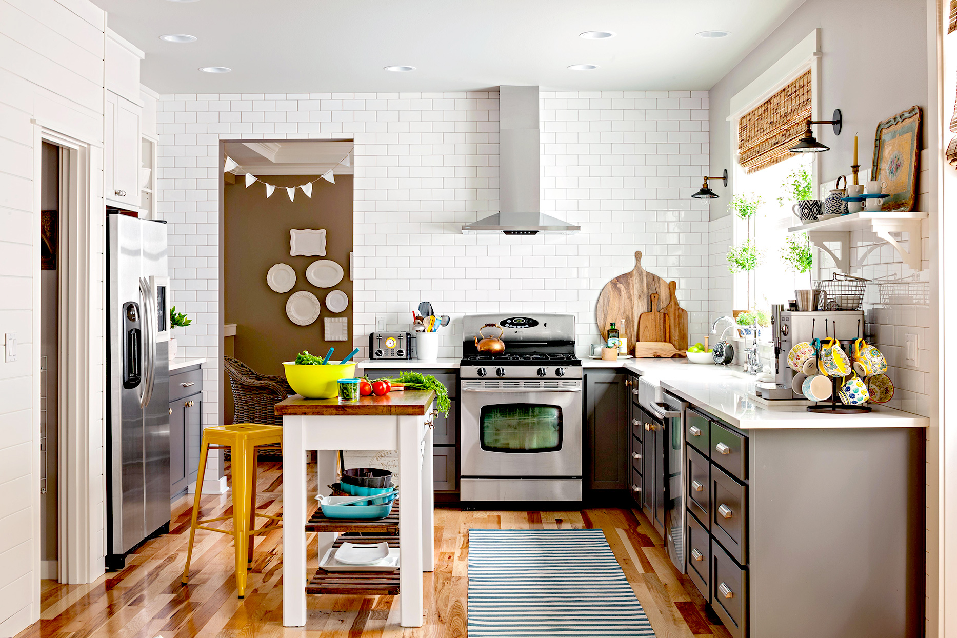 Kitchen with white brick and island