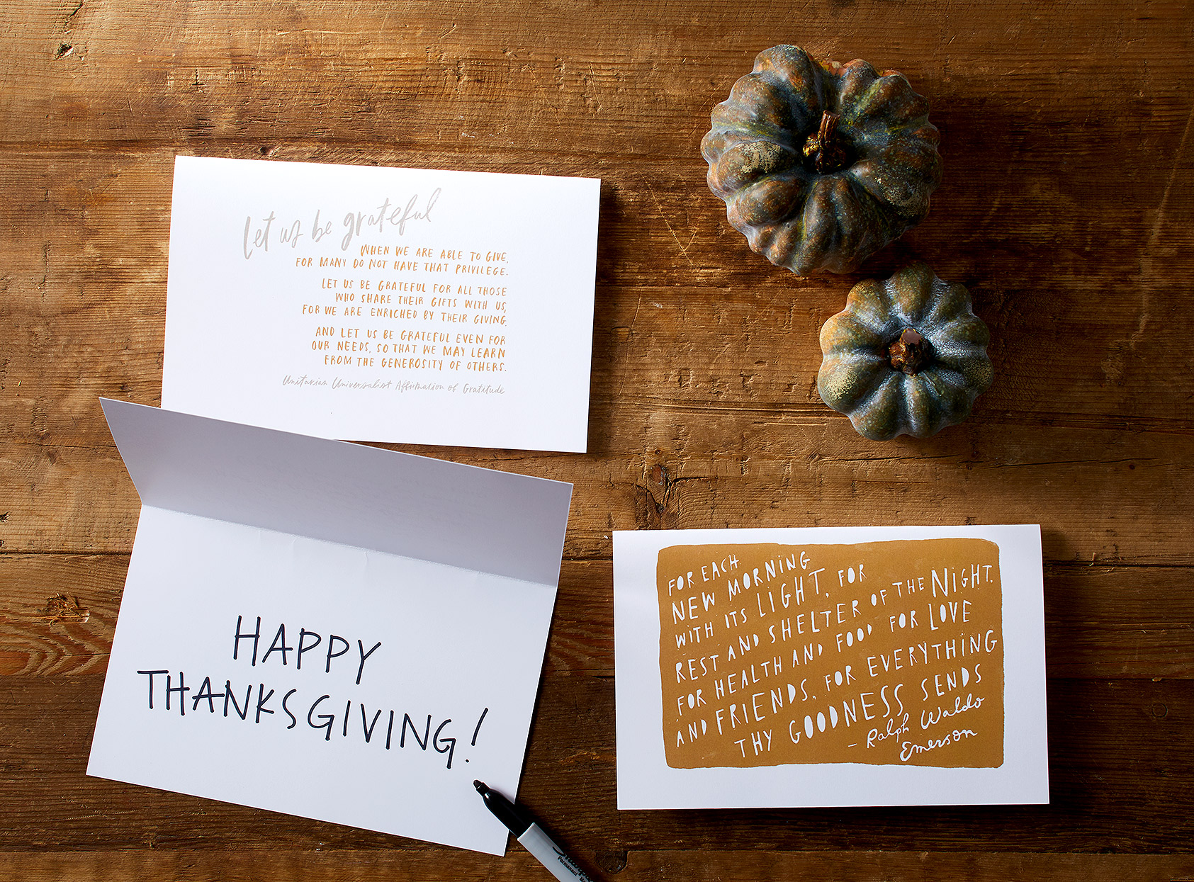 printable Thanksgiving cards on table near gourds