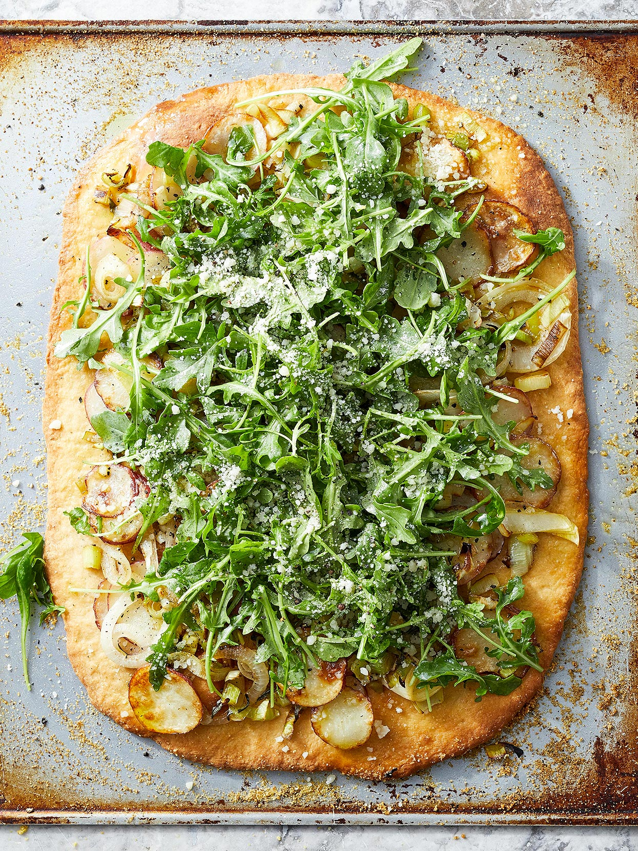 Potato and Leek Pizza with Arugula