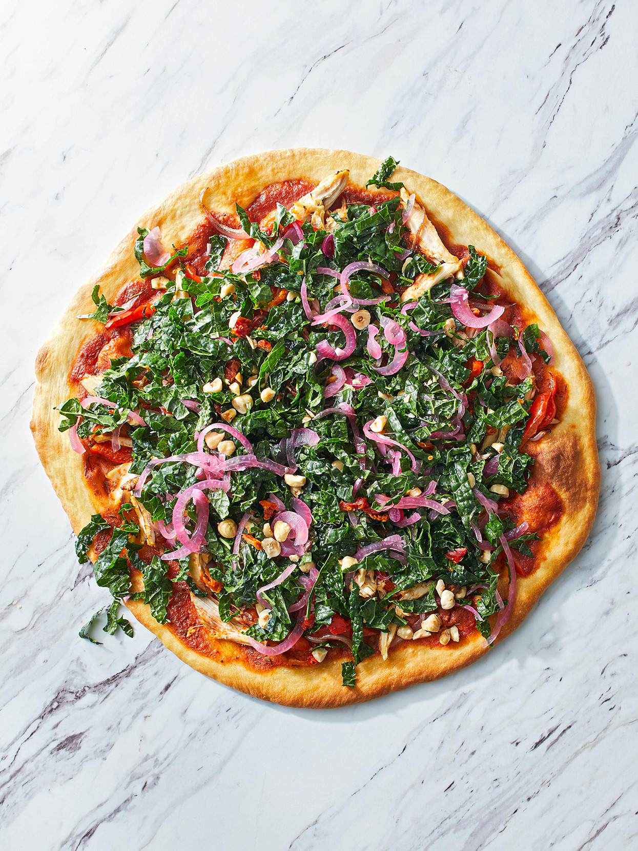 Chicken and Pepper Pizza with Kale