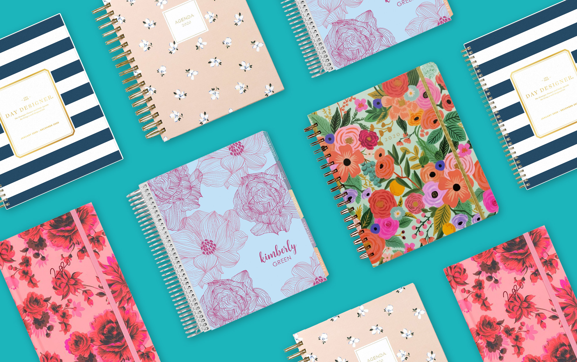 several floral 2020 planners on a teal background