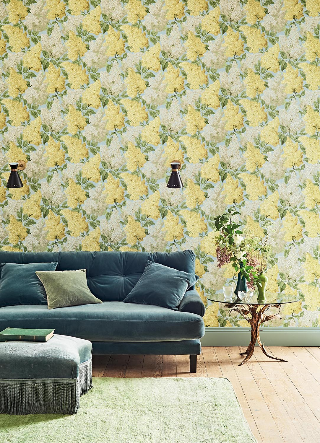 colorful yellow floral wallpaper