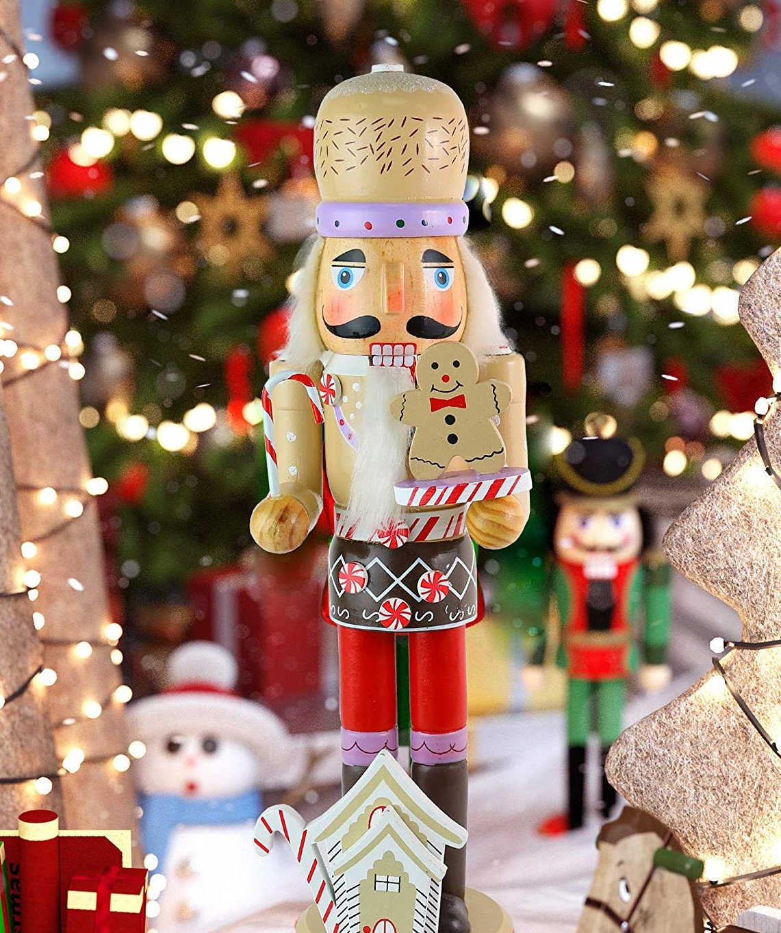 wood nutcracker painted to look like a chef