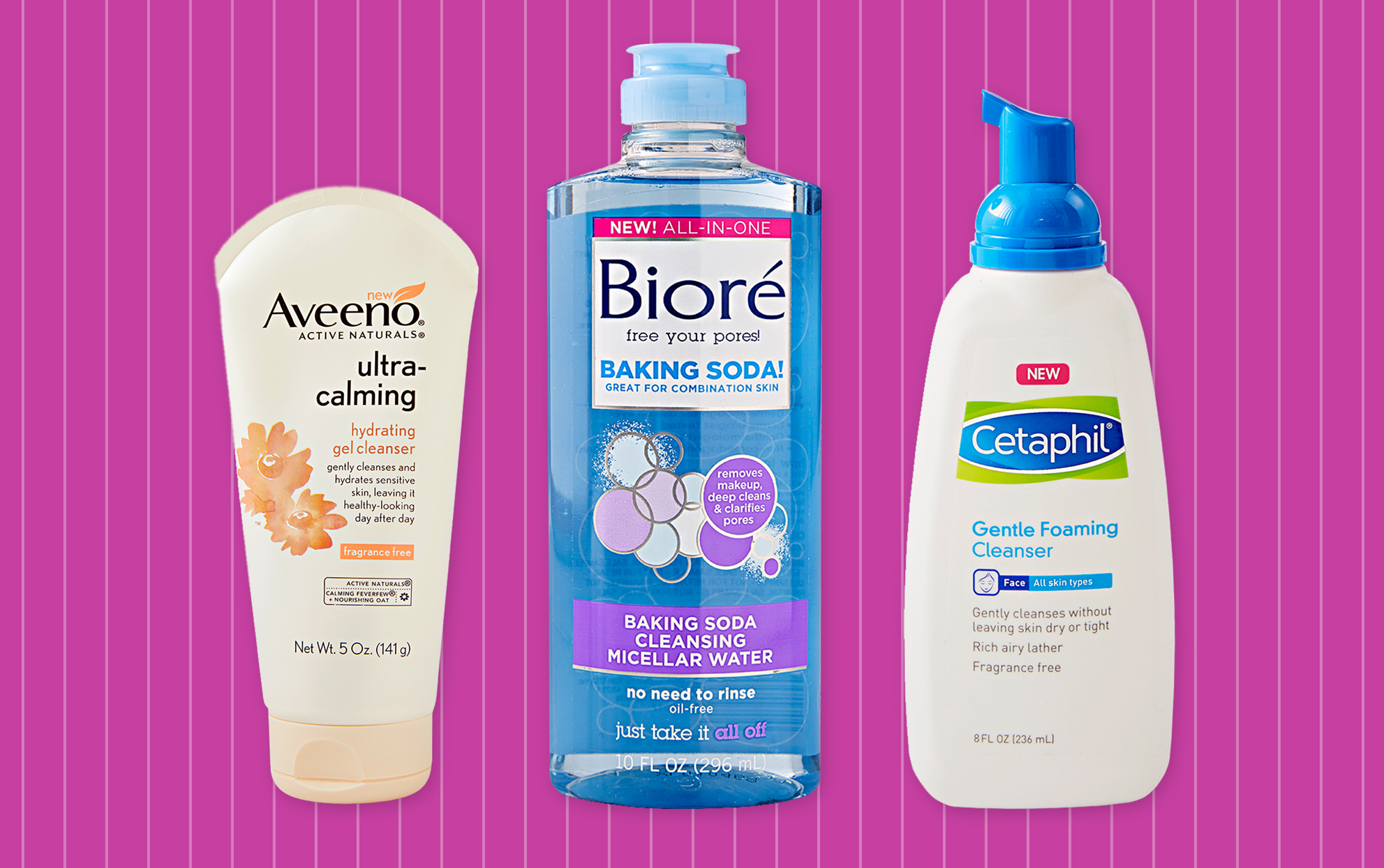 Aveeno, Bioré and Cetaphil cleansers on a purple background