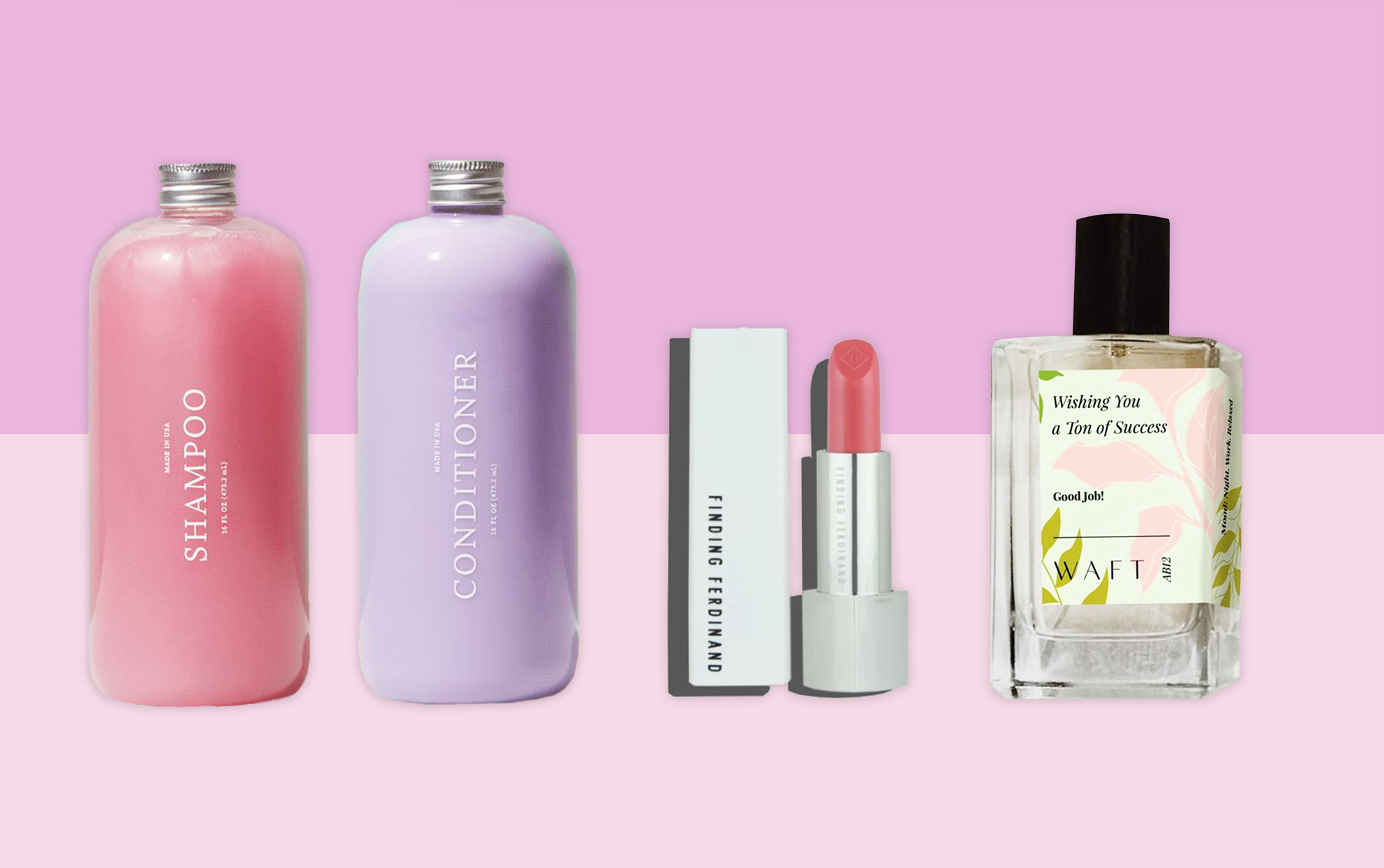 Customizable shampoo and conditioner, lipstick and perfume on a pink background
