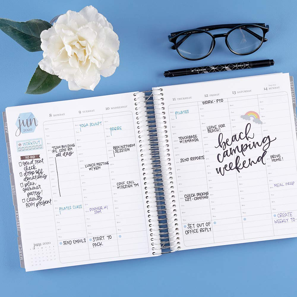 spiral bound planner opened up to june, on a blue background