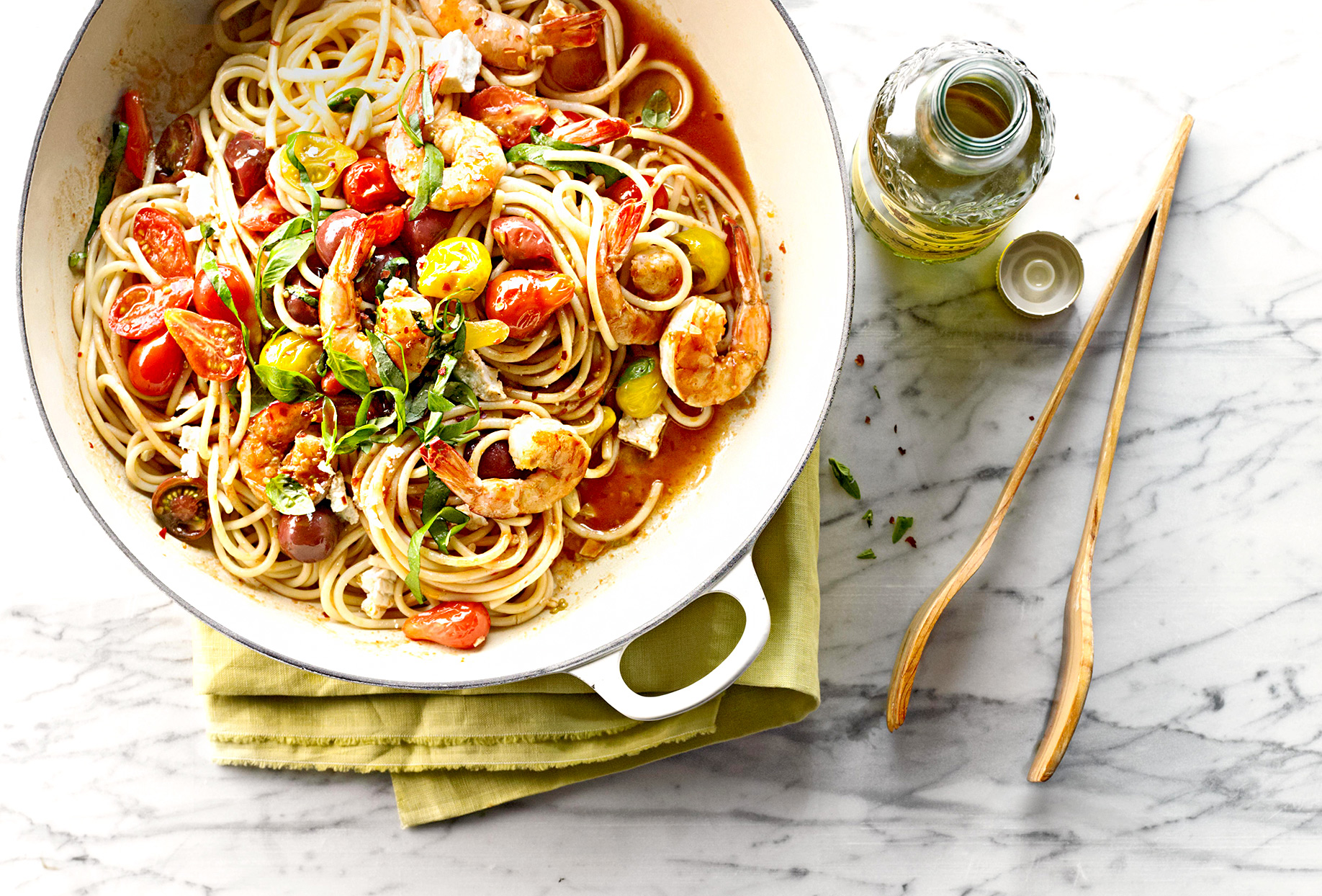 Bucatini with Shrimp and Spicy Cherry Tomato Pan Sauce