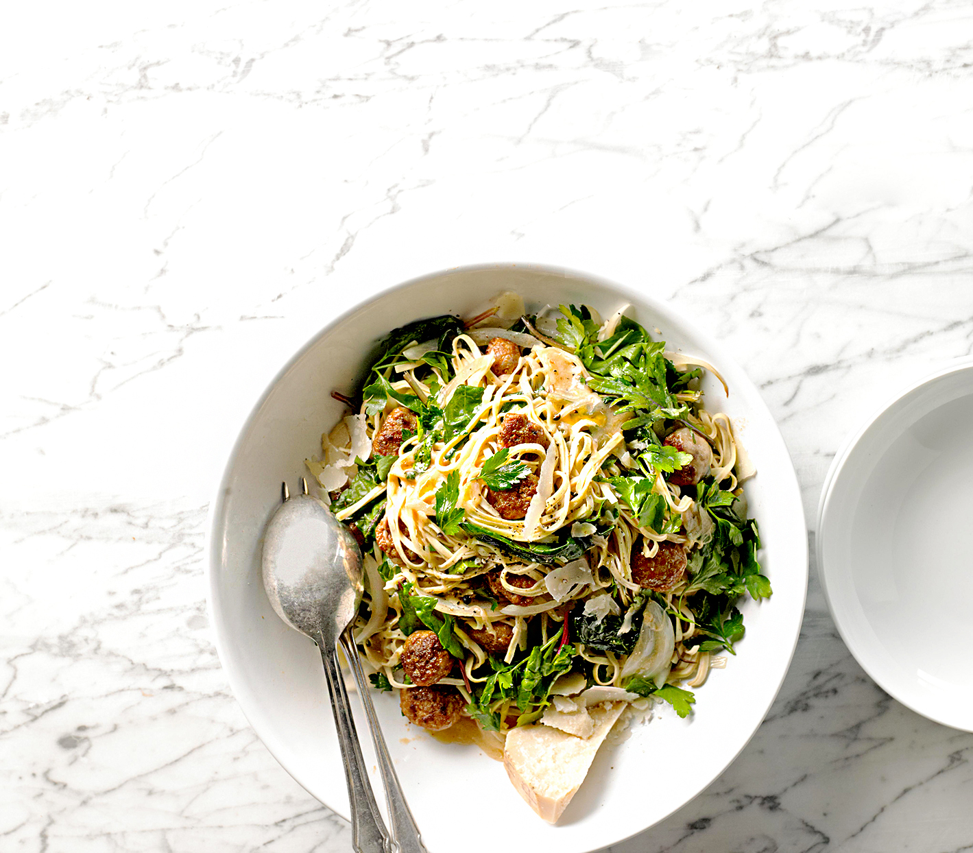 Linguine with Sausage, Greens, Eggs, and Pan Sauce