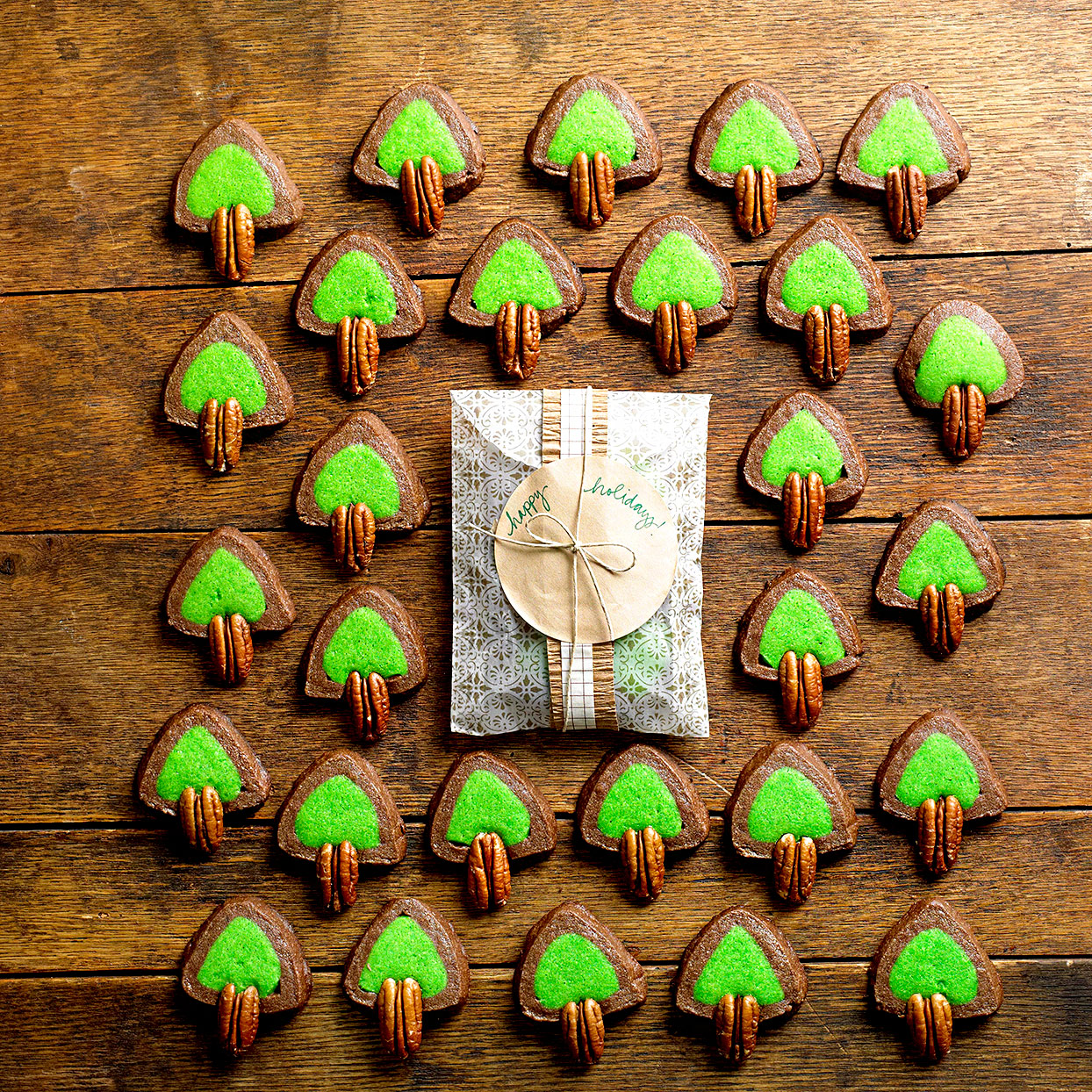 Mint Chocolate Tree Cookies