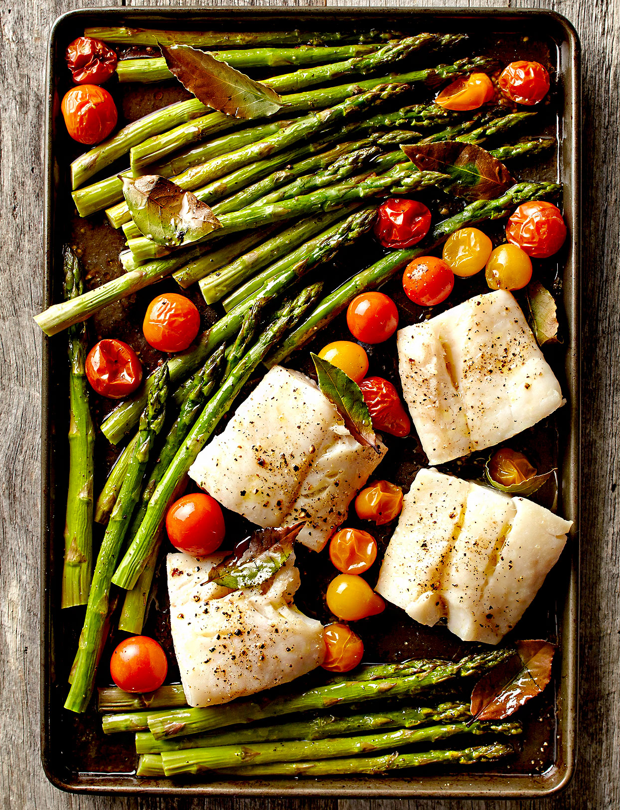Roasted Asparagus, Fish, and Bay Leaves