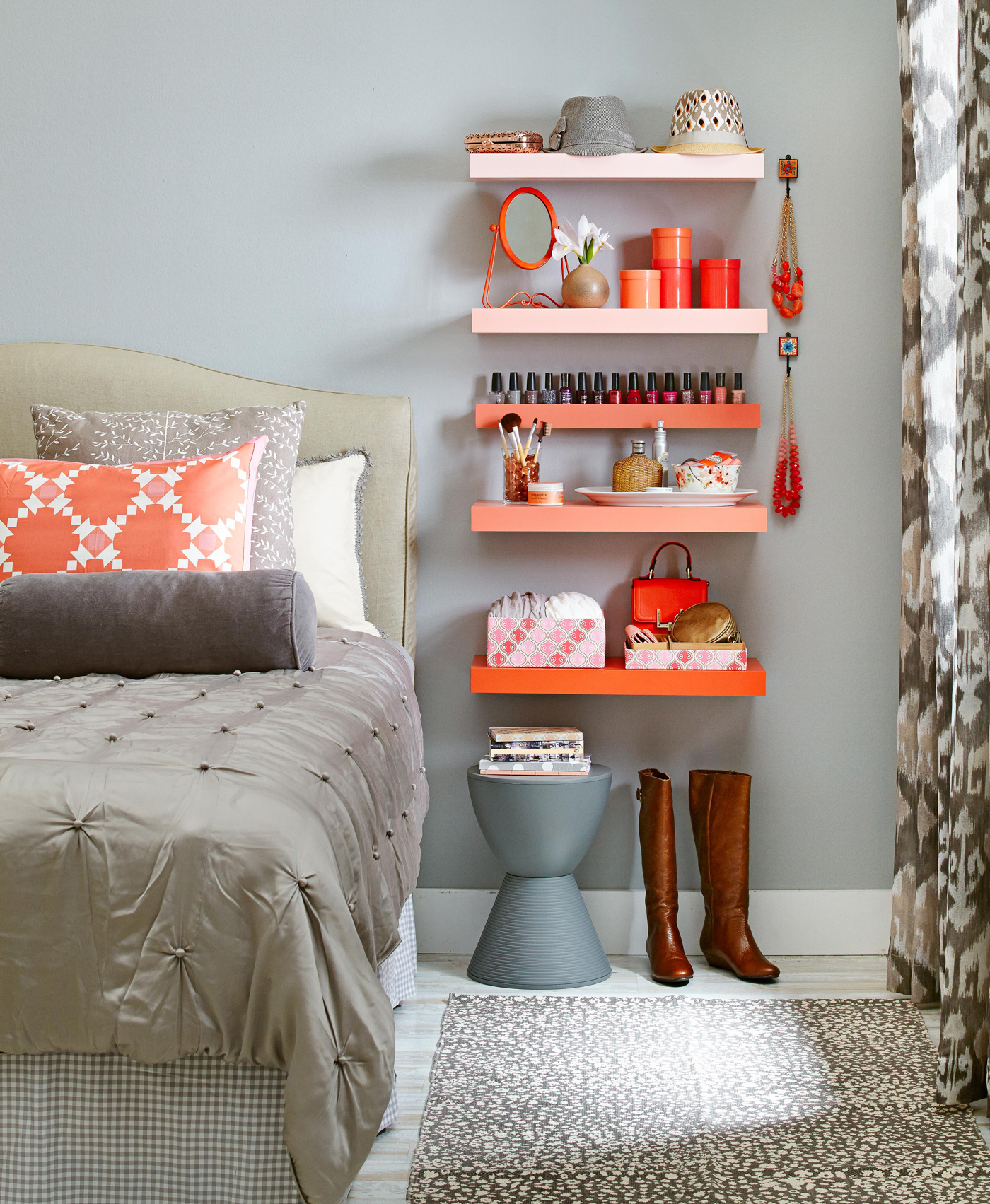 bedside gradient orange colored floating shelves
