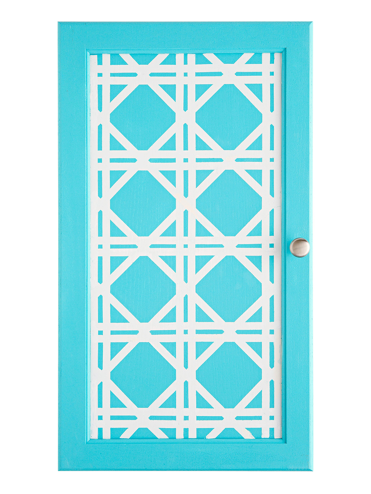 robin's egg blue cabinet with white lattice design