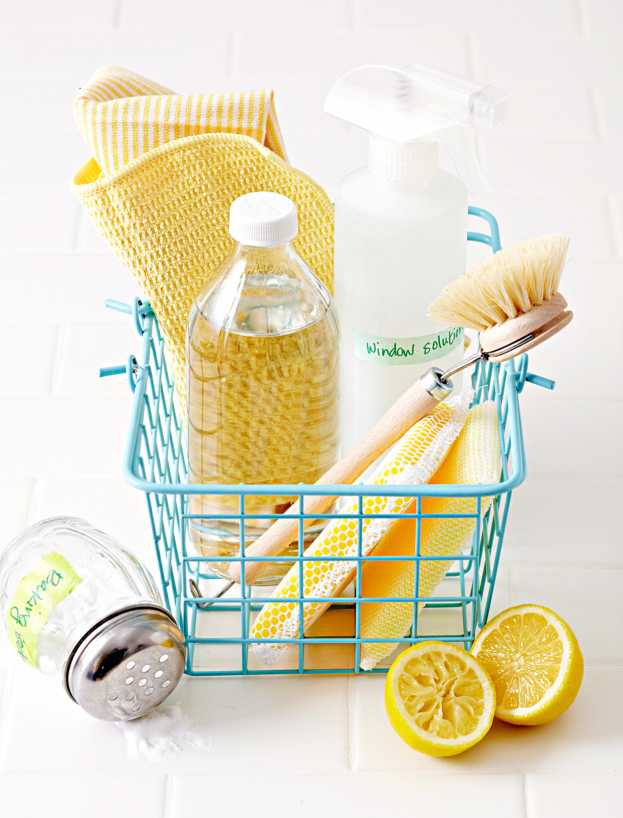 Cleaning supplies in metal basket