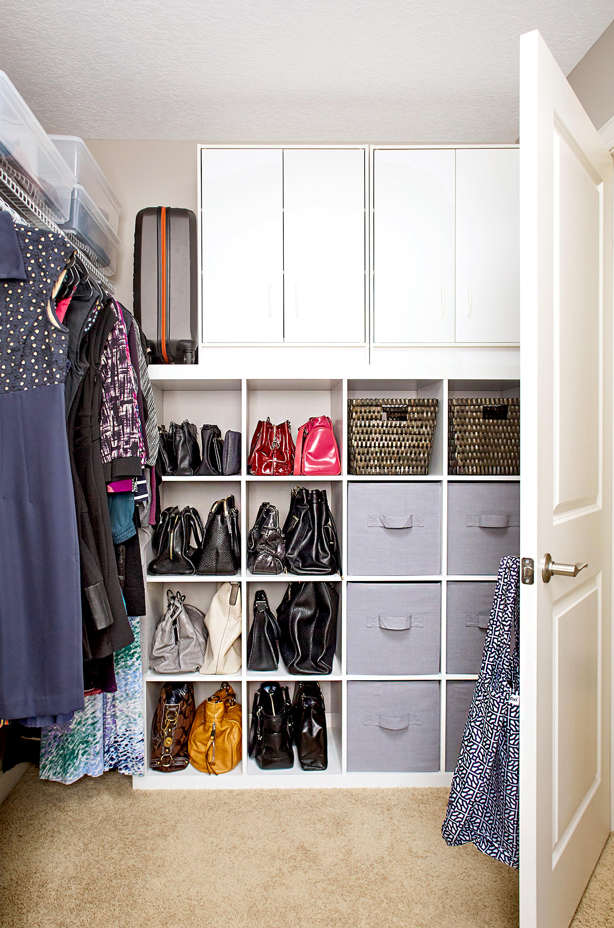 Closet with cube organization