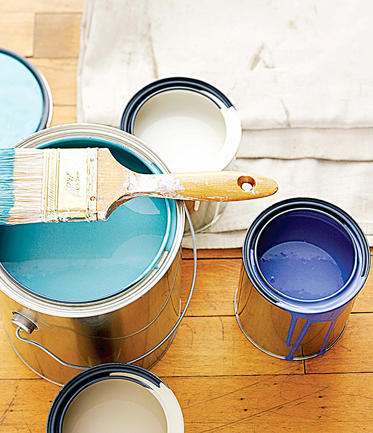 Different cans of paint