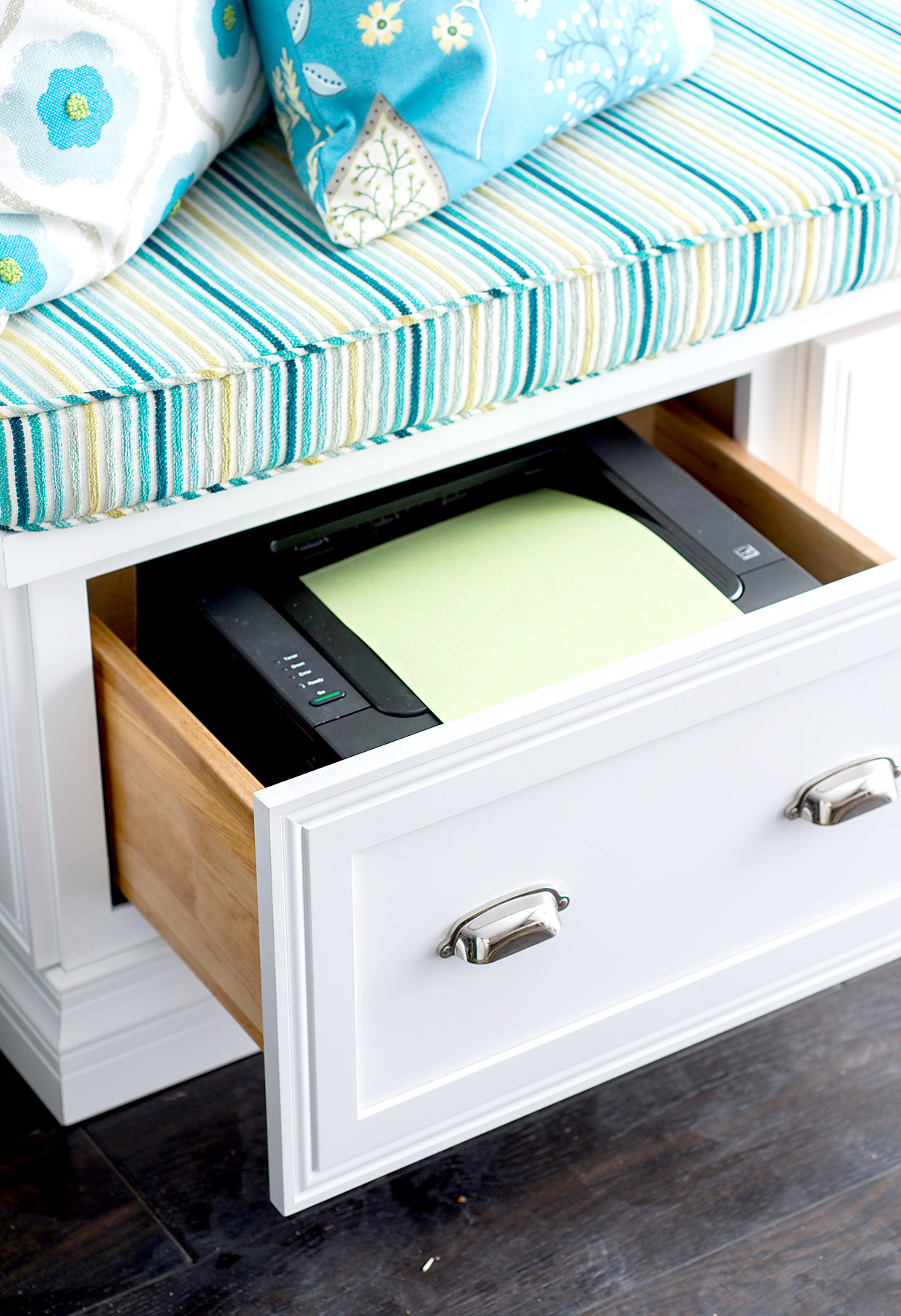 Drawer in furniture with pillows