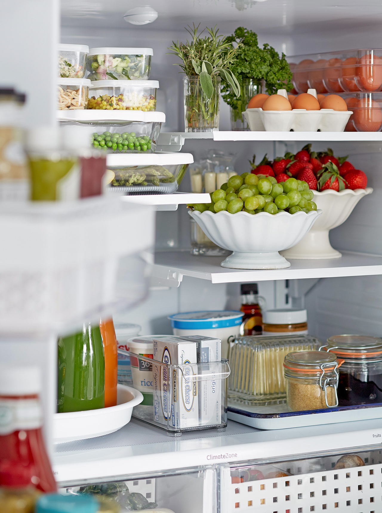 inside fridge view food organization shelving