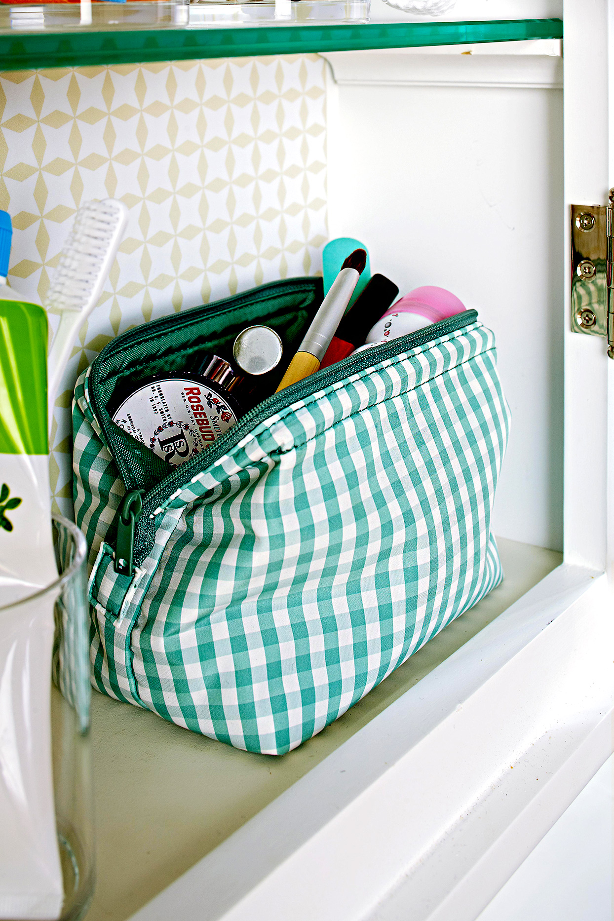 Makeup bag in cupboard