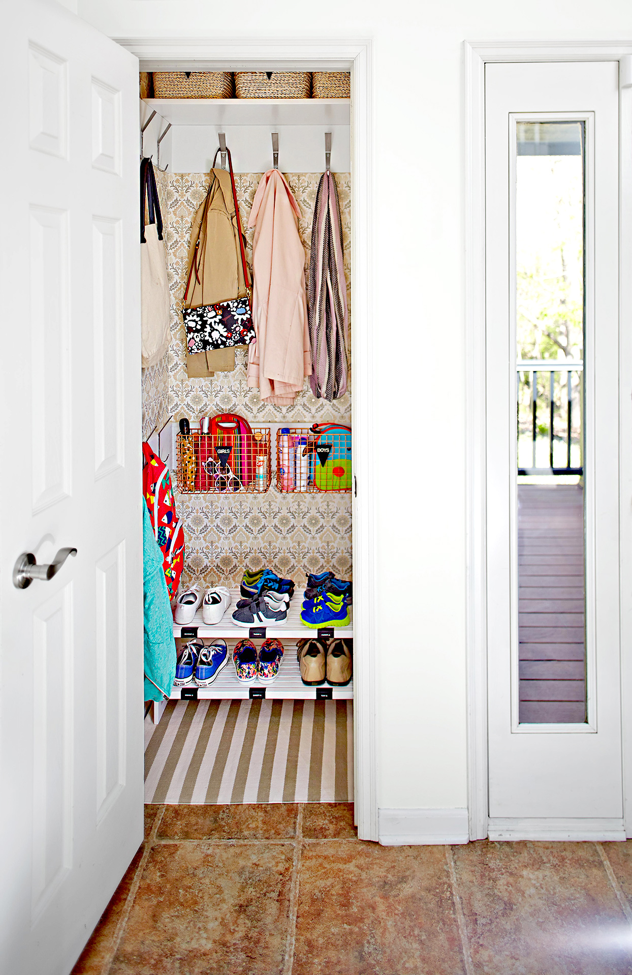 Organized closet by entryway