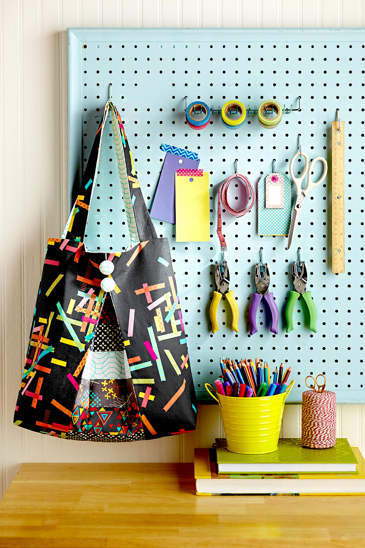 Pegboard with tools and bag