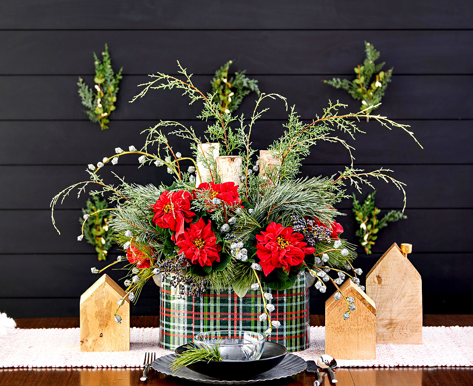 Red flowers in plaid planter