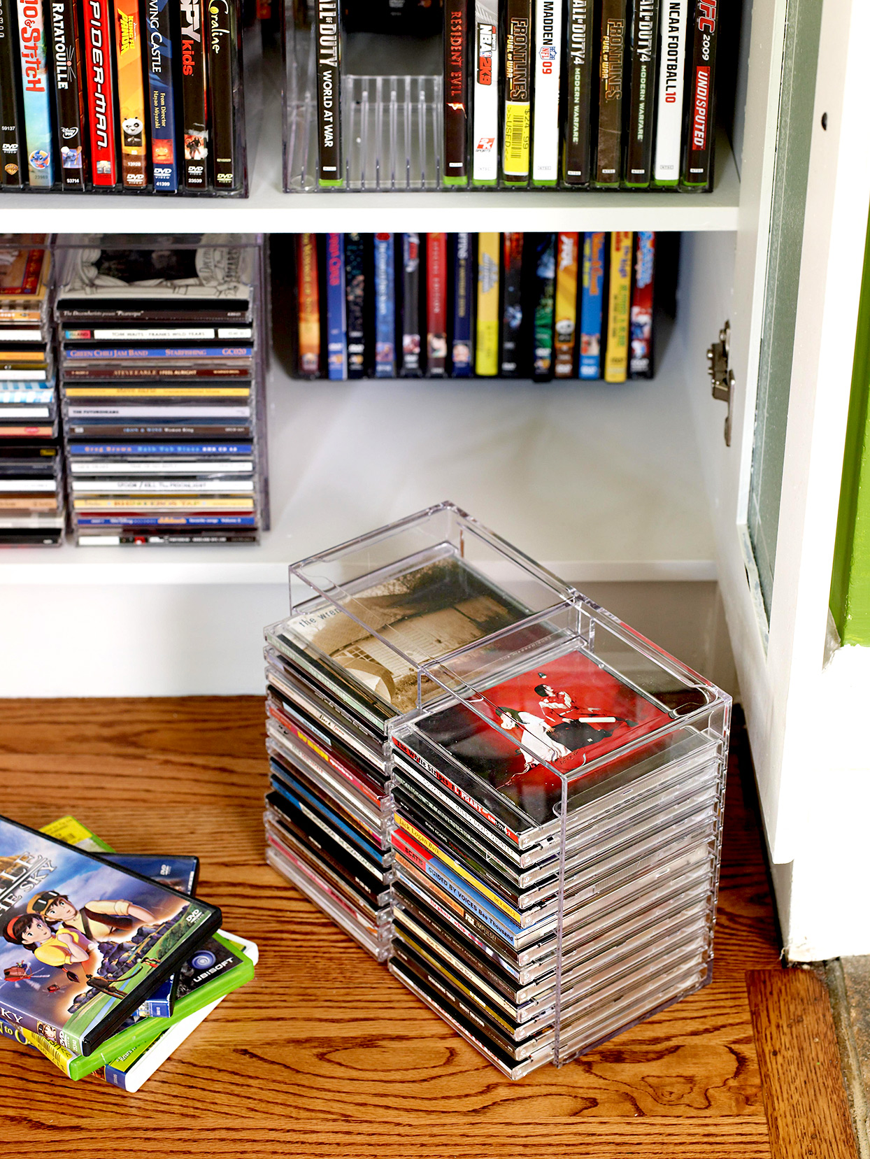 Stacks of DVDs and CDs