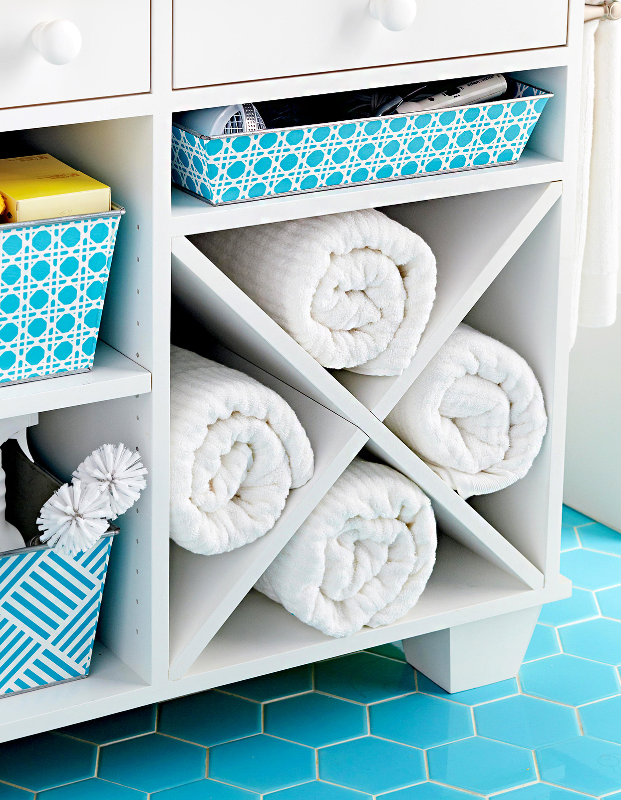 Towels stored in shelf