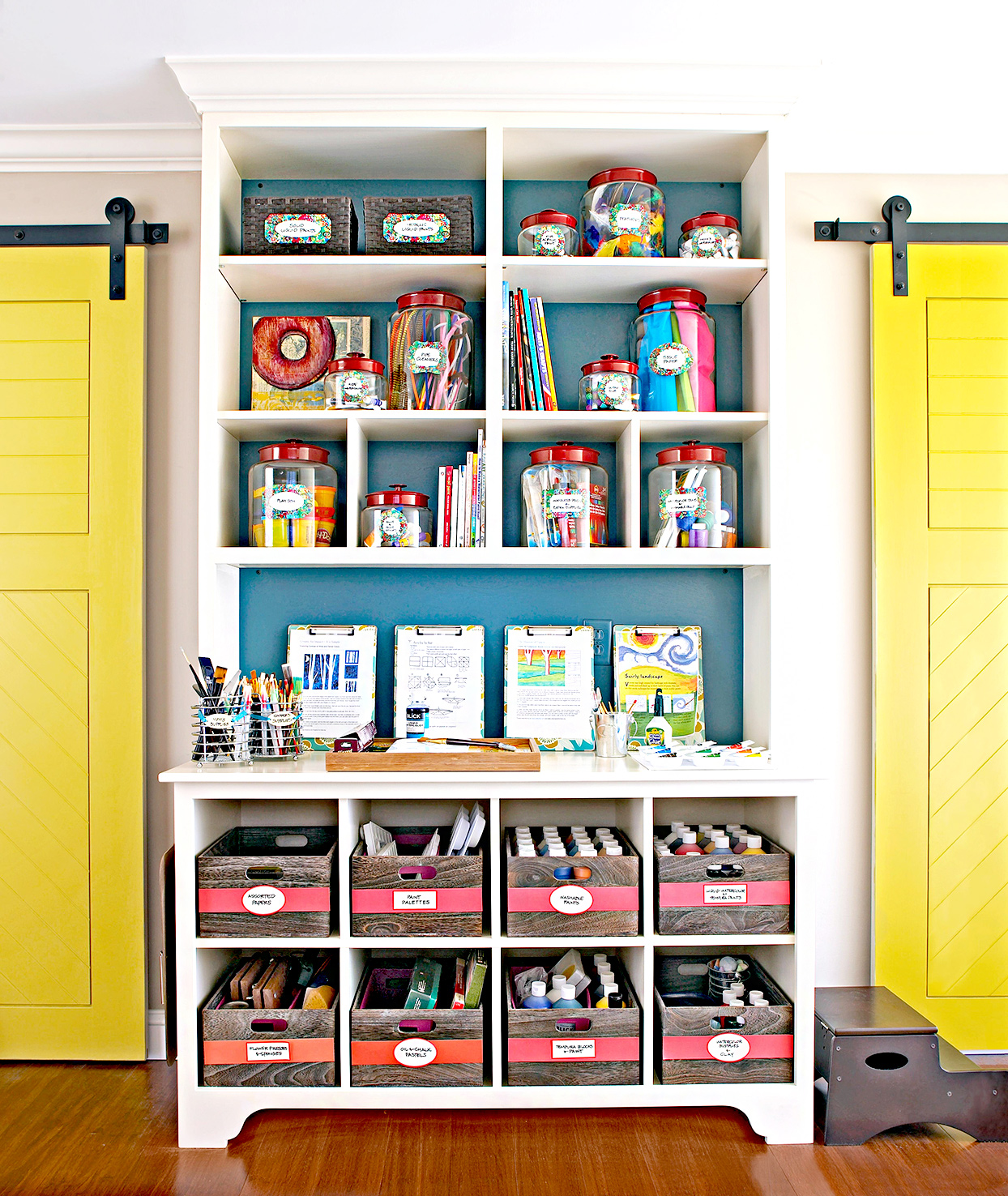 White shelving filled with organized supplies