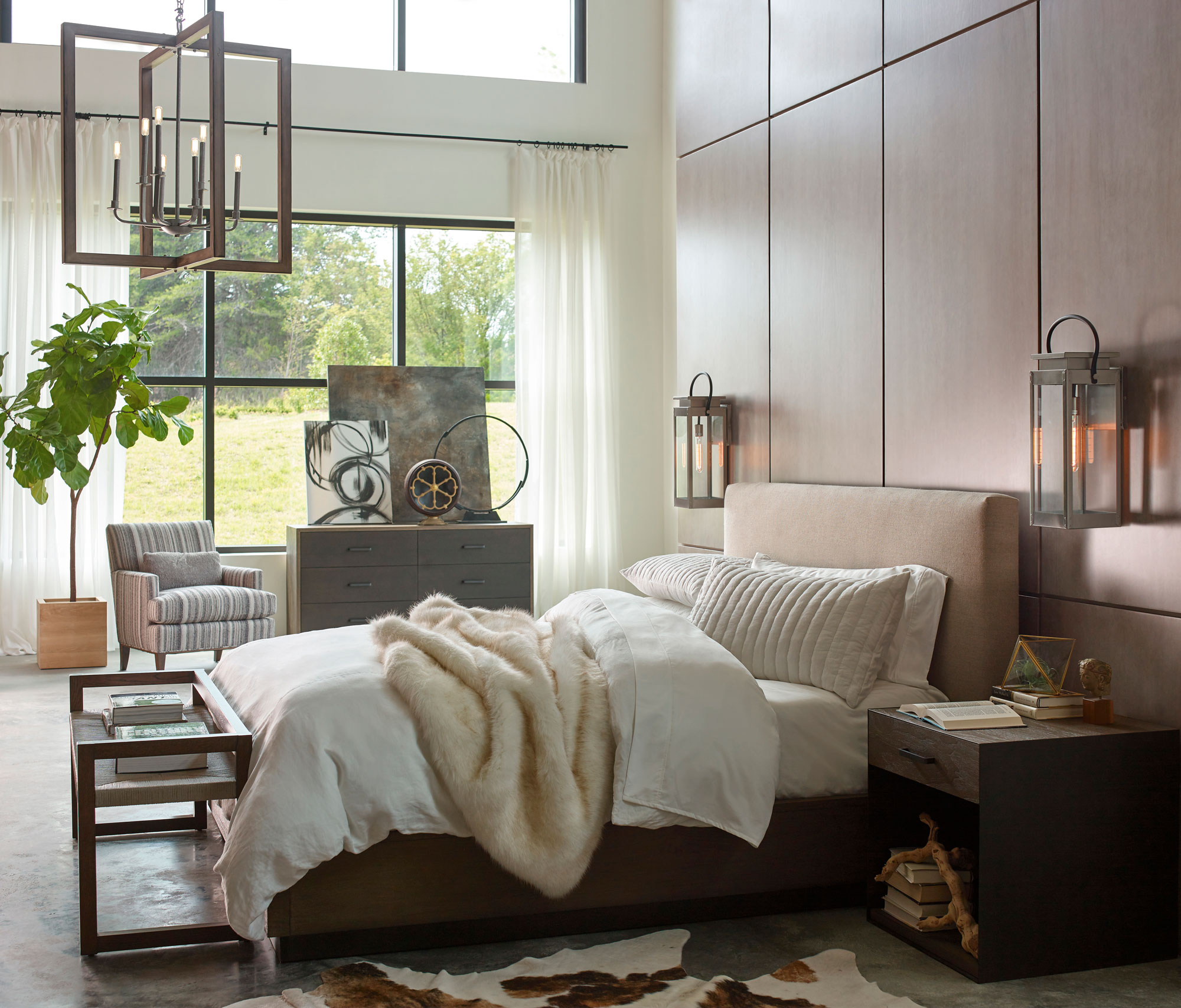 neutral tones cozy bedroom with mounted sconces