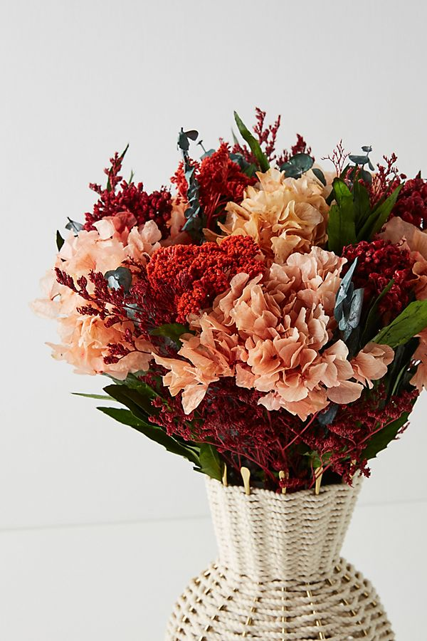 bouquet of dried orange and red hydrangeas