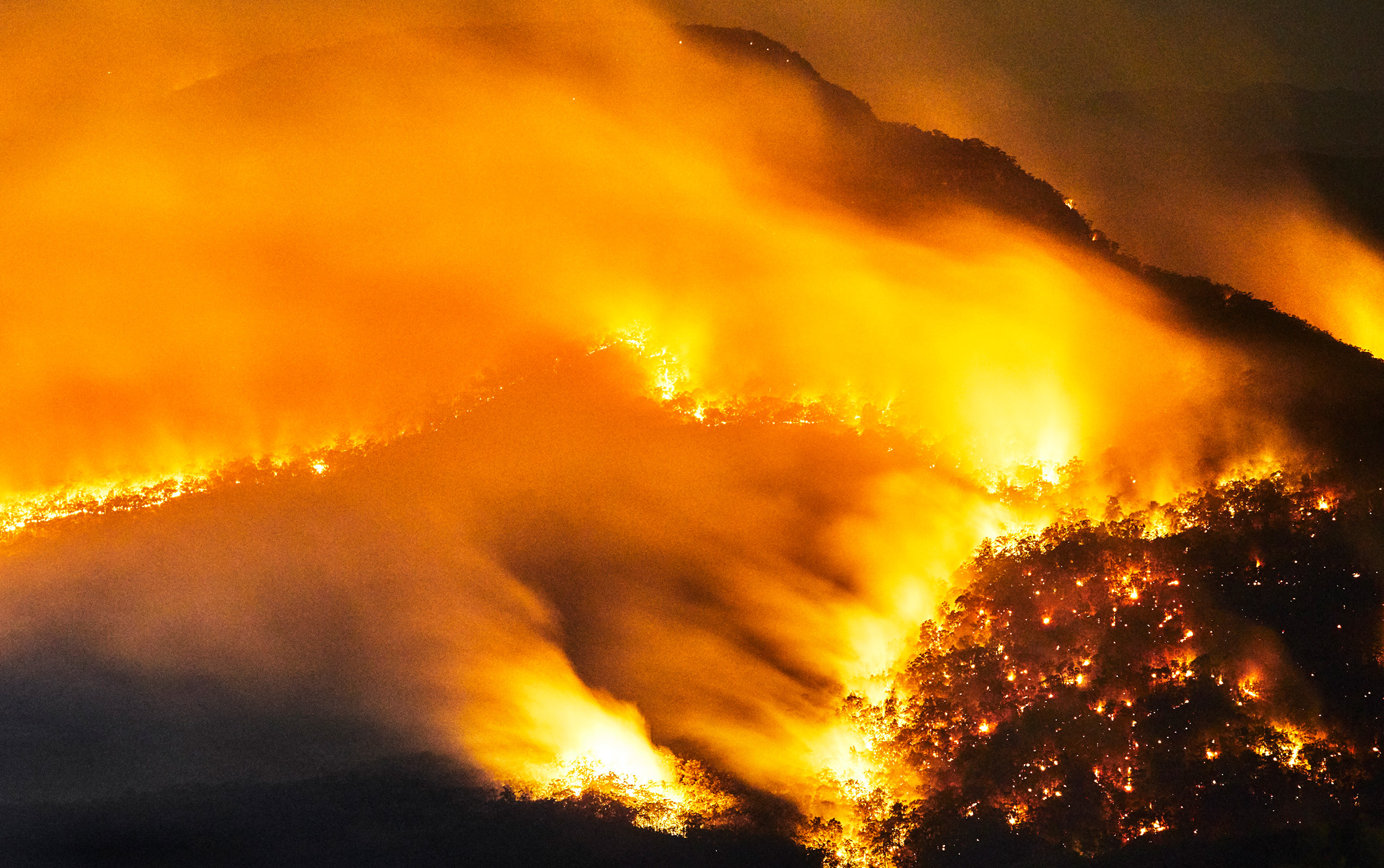 Bushfire in mountain valley, Blue Mountains, Australia