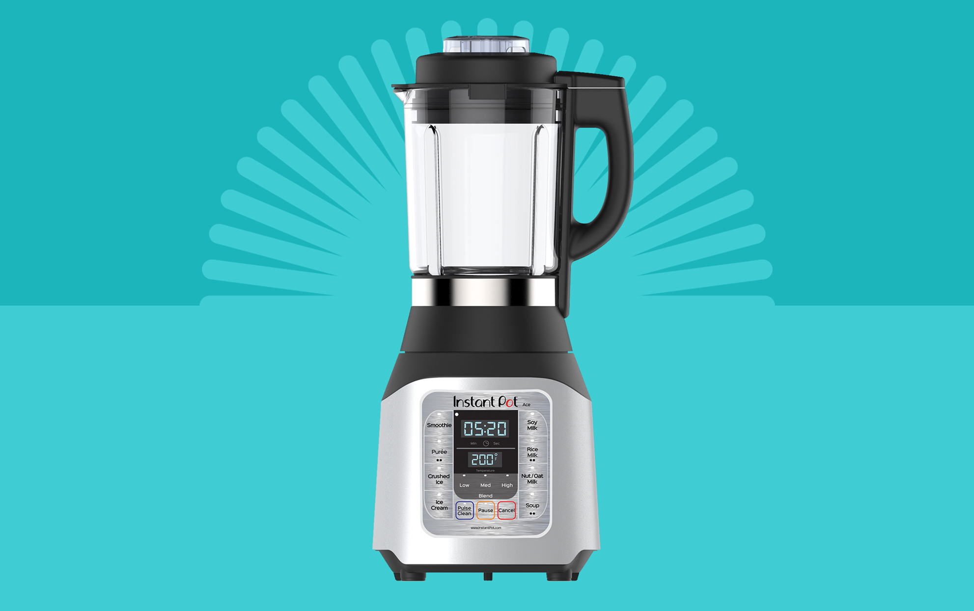 Instant pot blender on a teal background