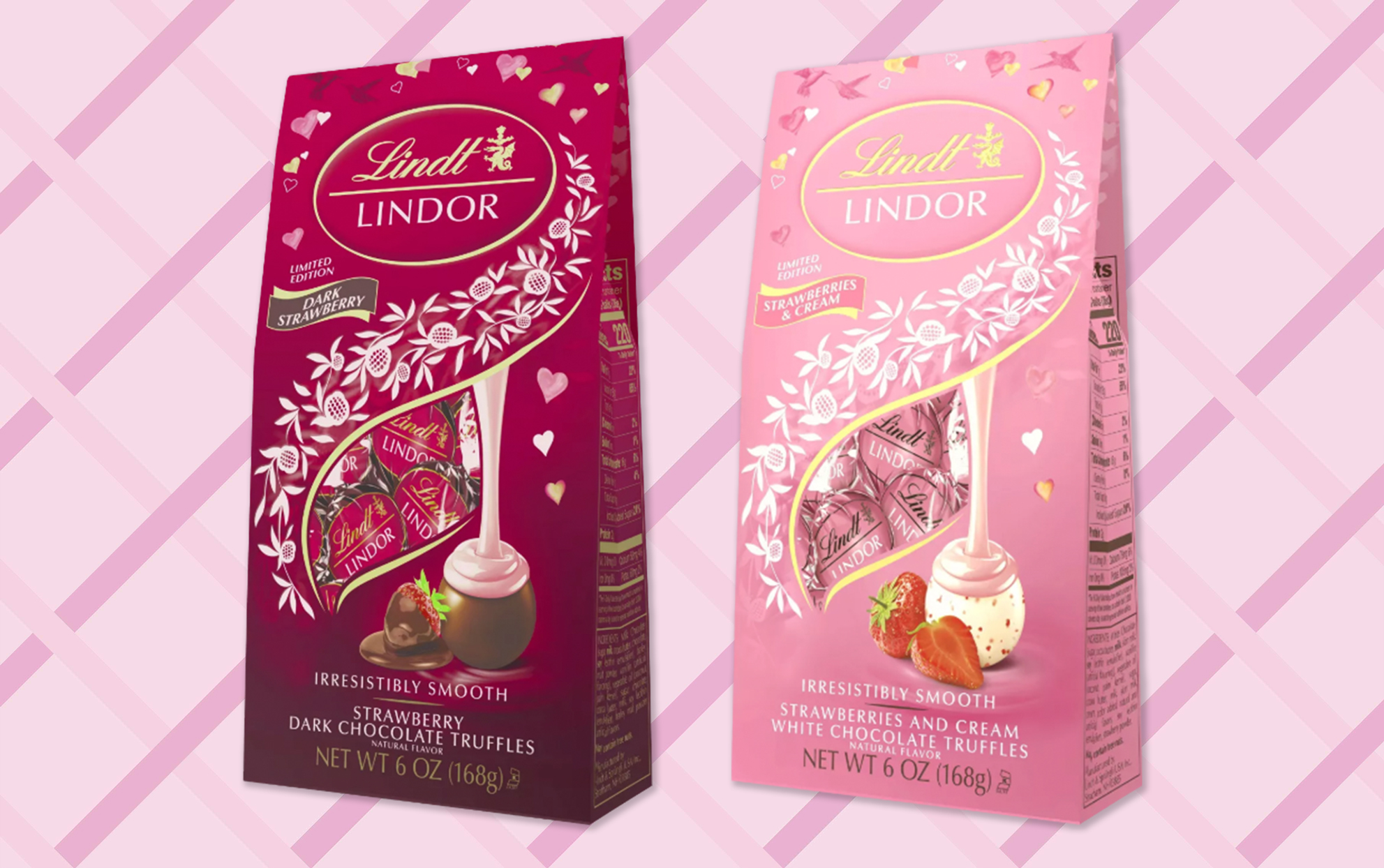 Two packages of Lindt Lindor truffles for Valentine's Day
