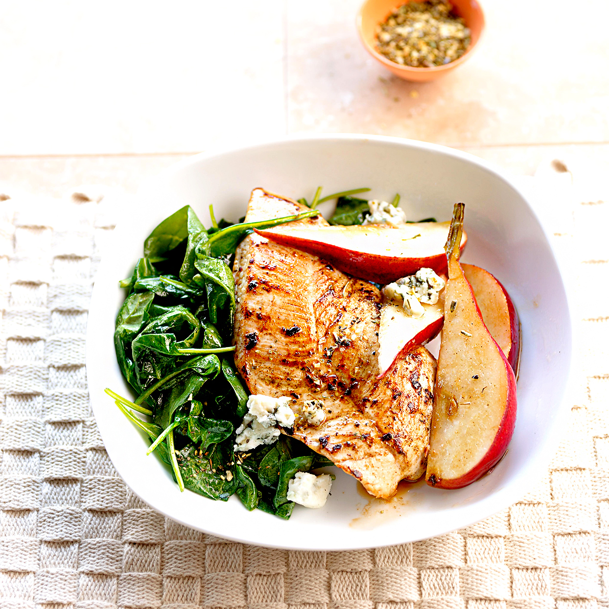 Turkey Steaks with Spinach, Pears, and Blue Cheese