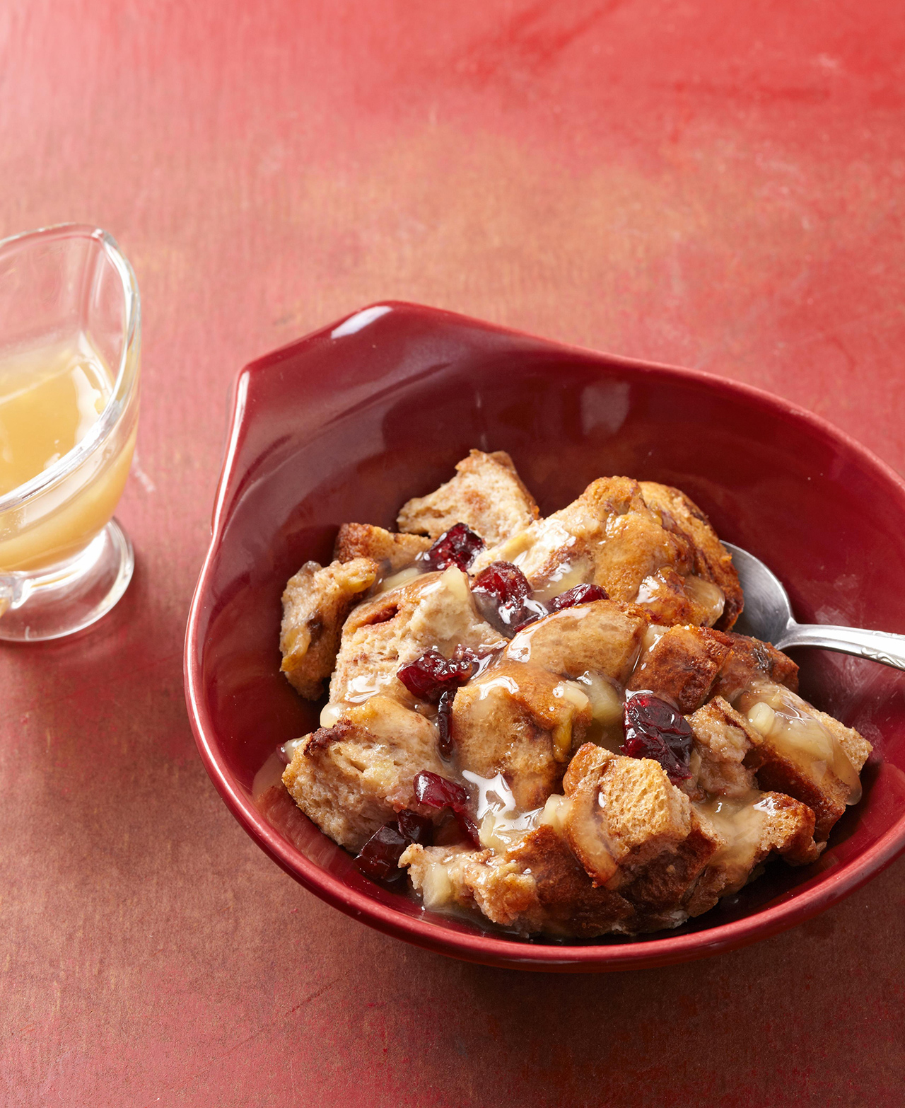 Cranberry-Banana Bread Pudding with Honey-Ginger Sauce