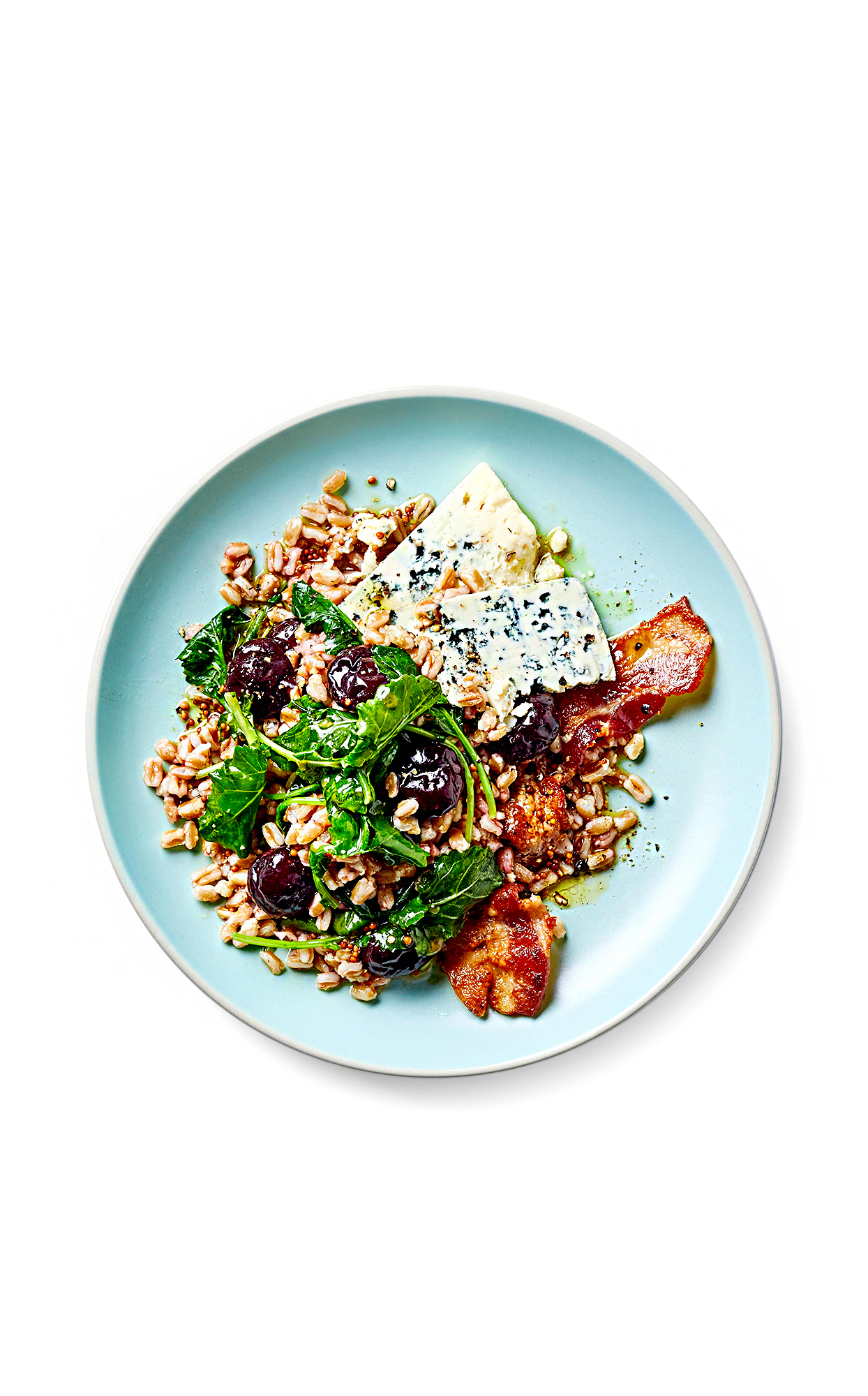 Grain Salad with Greens, Cherries, and Crispy Bacon