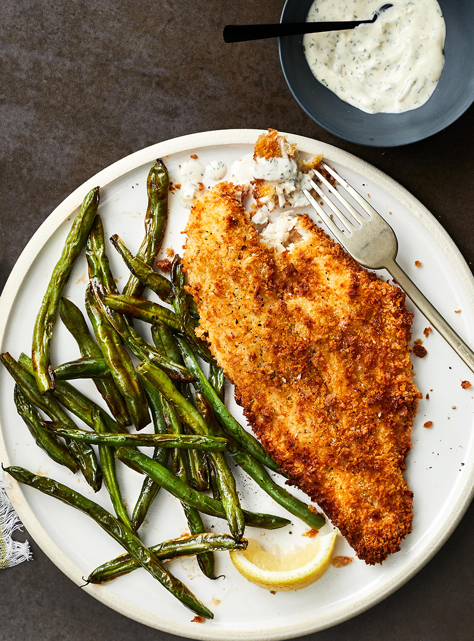 """Southern Style """"Fried"""" Catfish and Green Beans"""