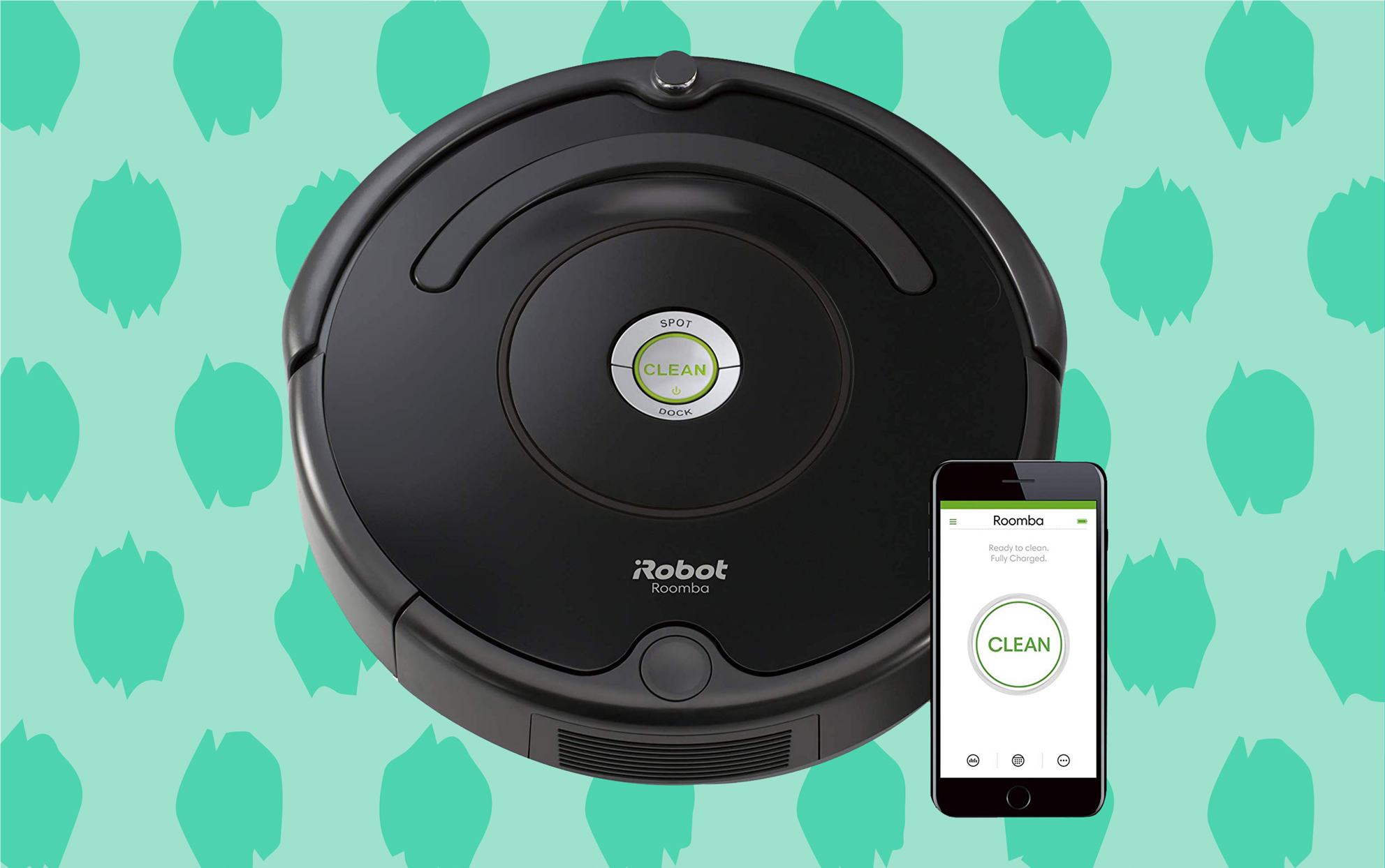 Roomba with an iphone on a green patterned background