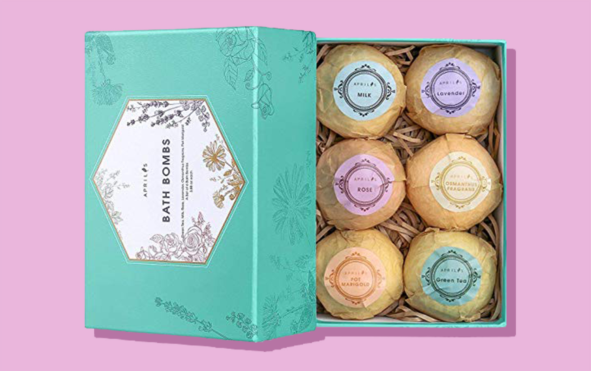 A box of Bath Bombs on a lavender background