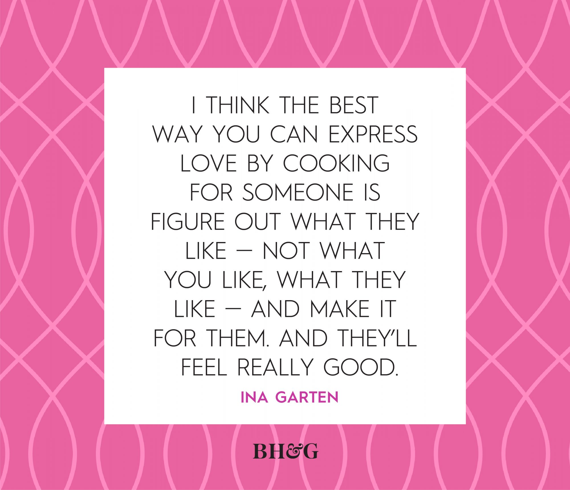 black Ina Garten quote on a pink and white background