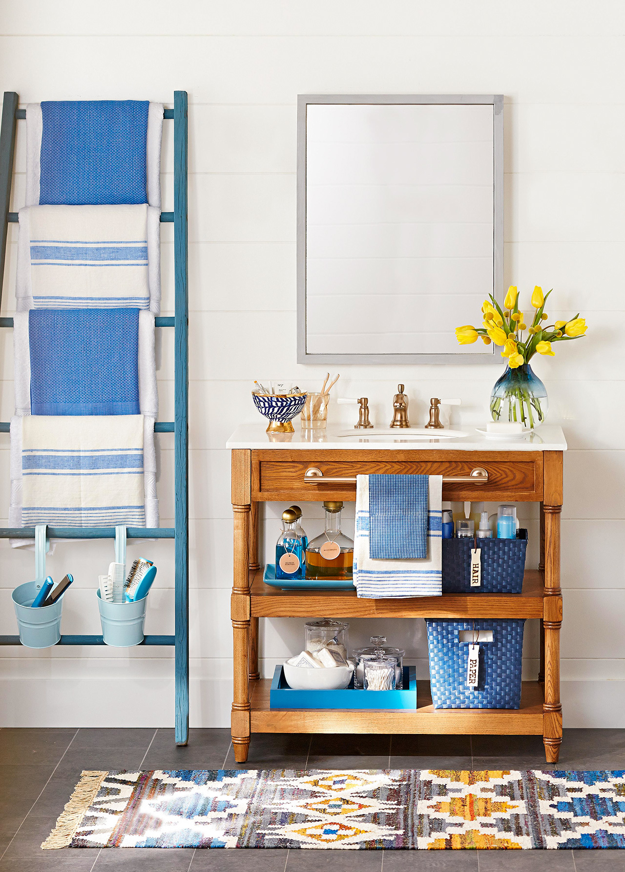 bathroom sink shelving blue white decor