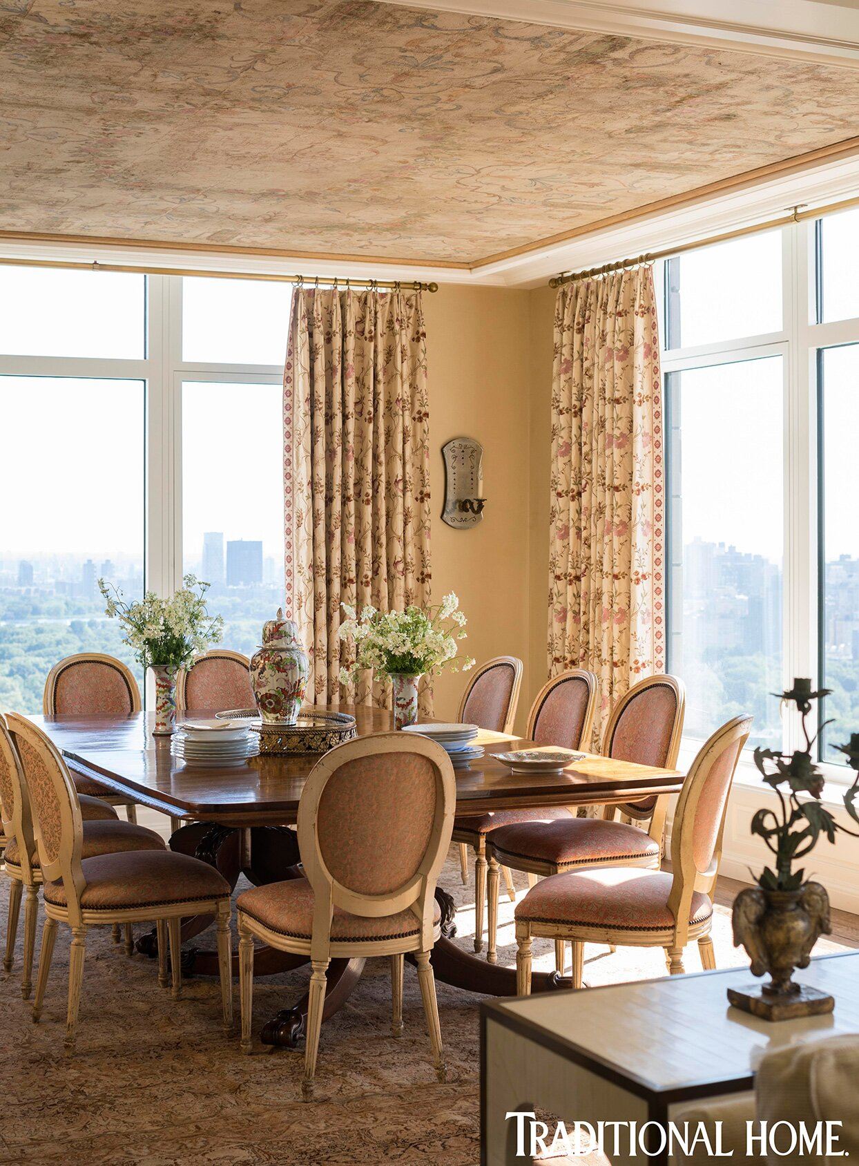 antique decorated dining room with central park view