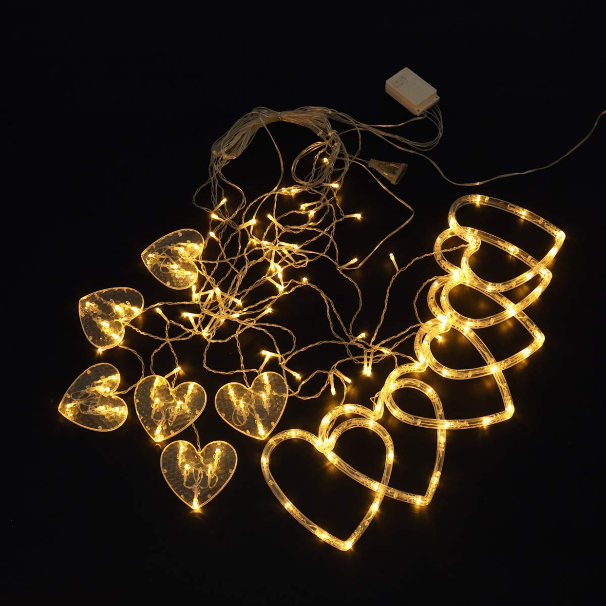Domoos 138 LED String Lights, Love Heart Curtain