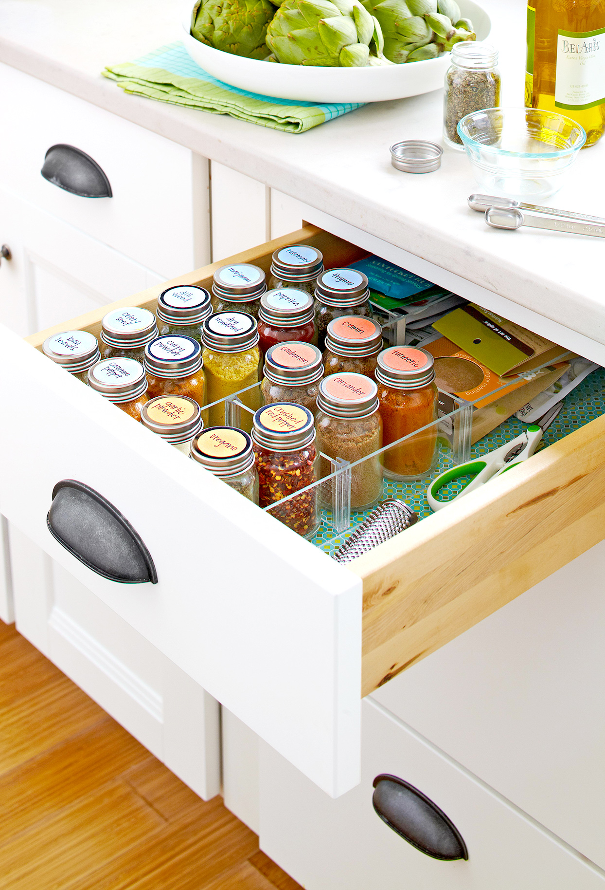 Drawer with organized spices