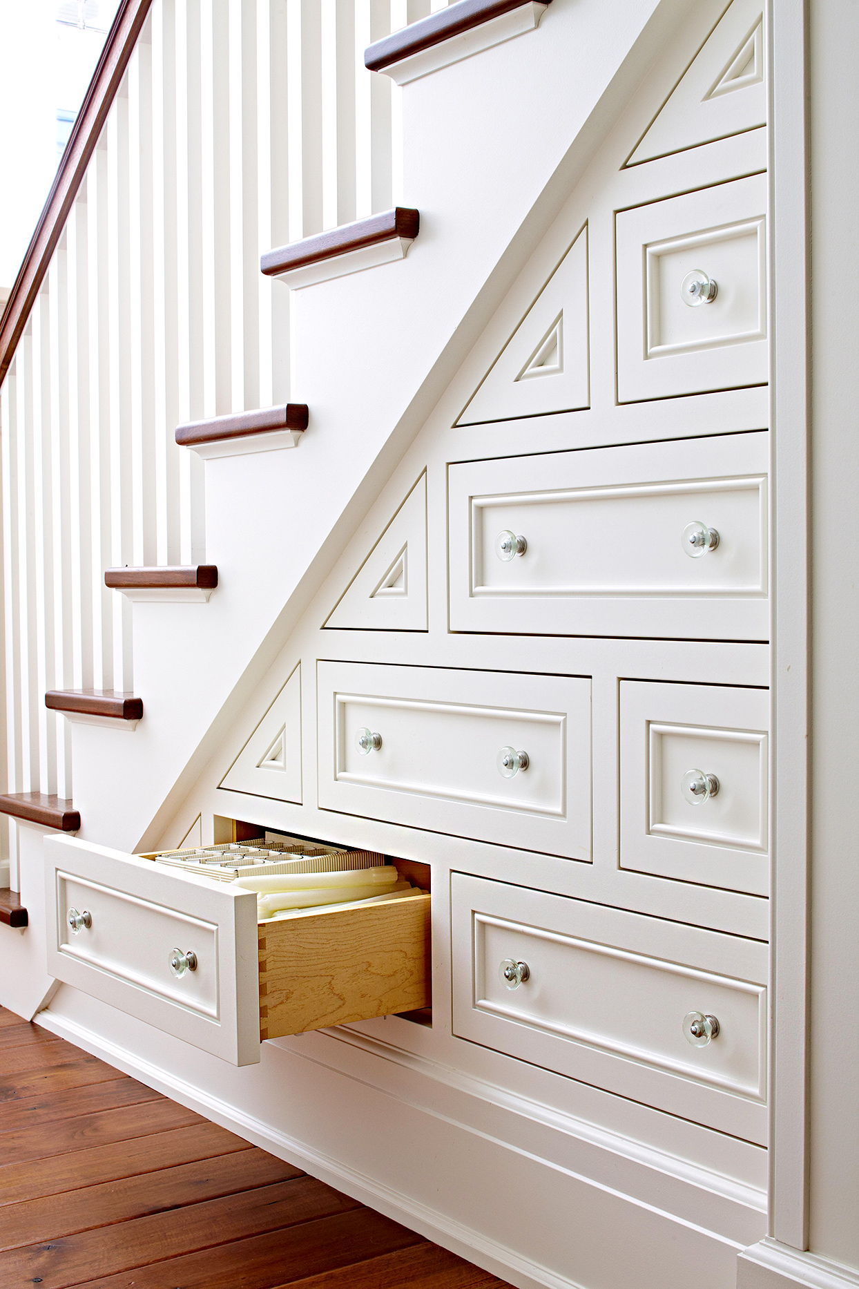 Drawers on stairwell