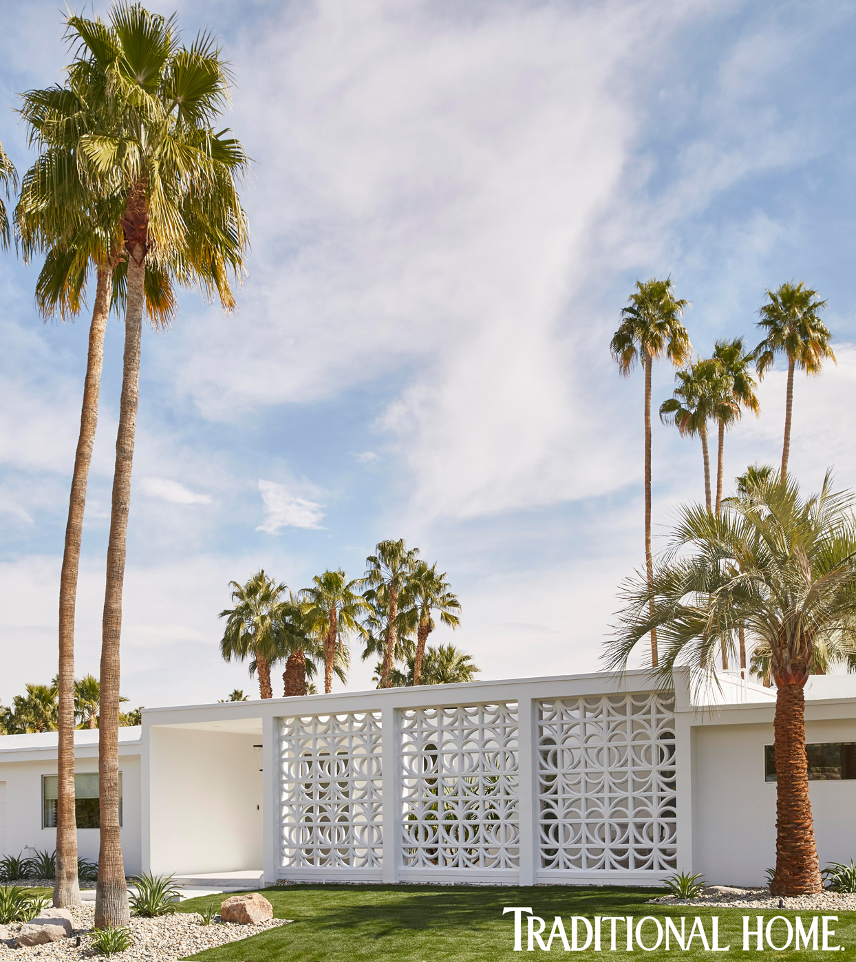 midcentury modern home white wall with palm trees