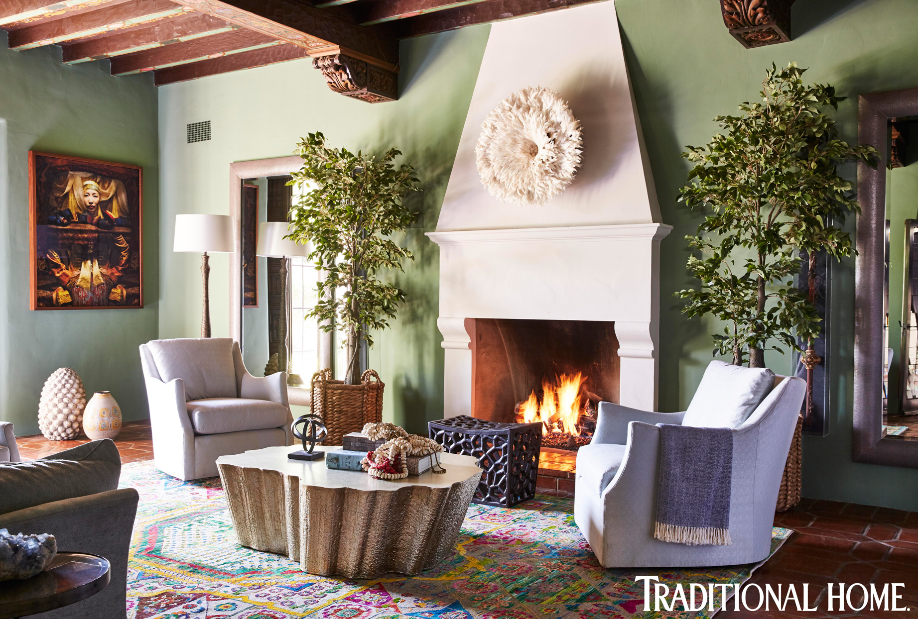 spanish colonial sitting room with fireplace