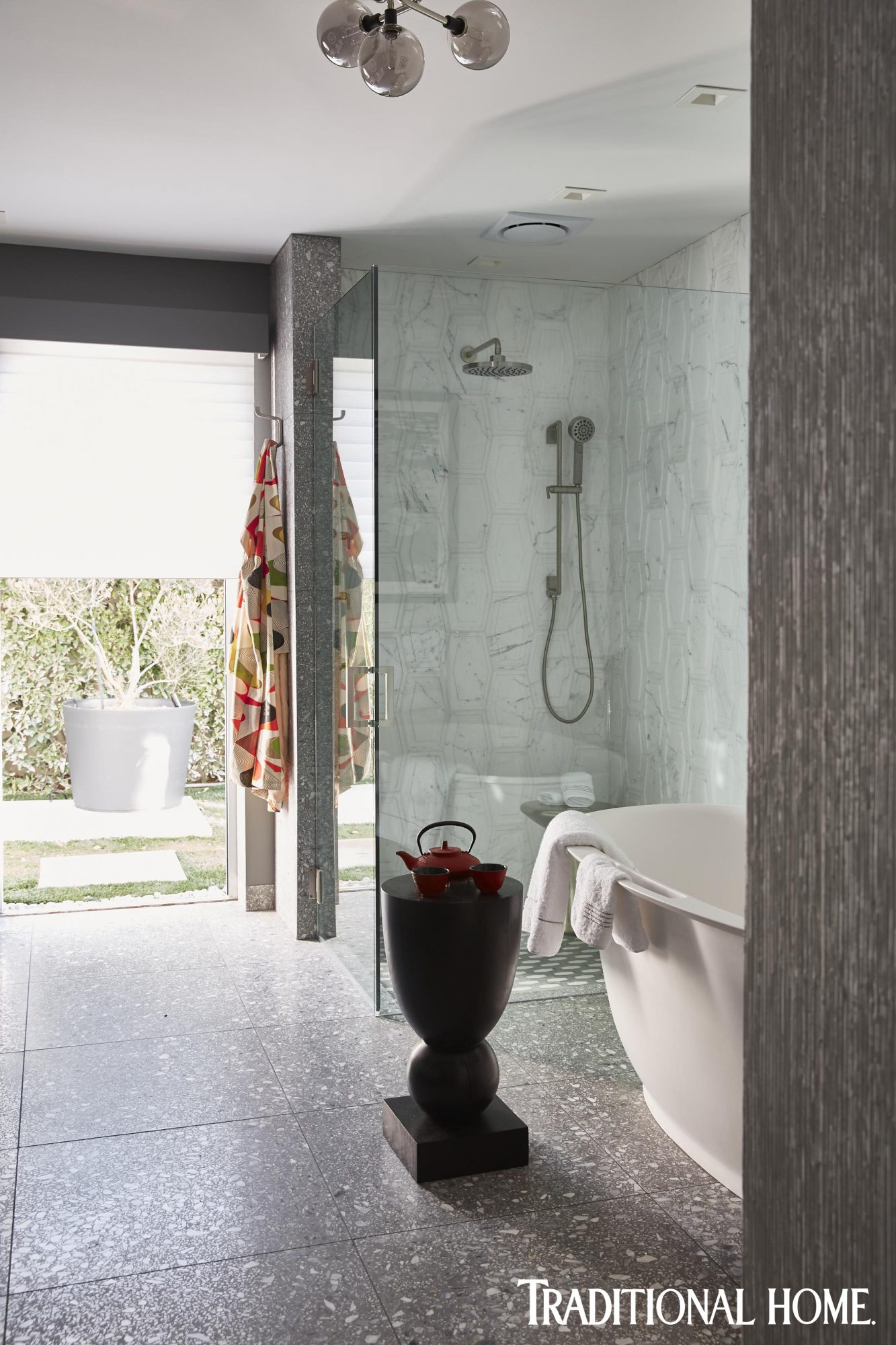 japanese midcentury modern bathroom with stone tile